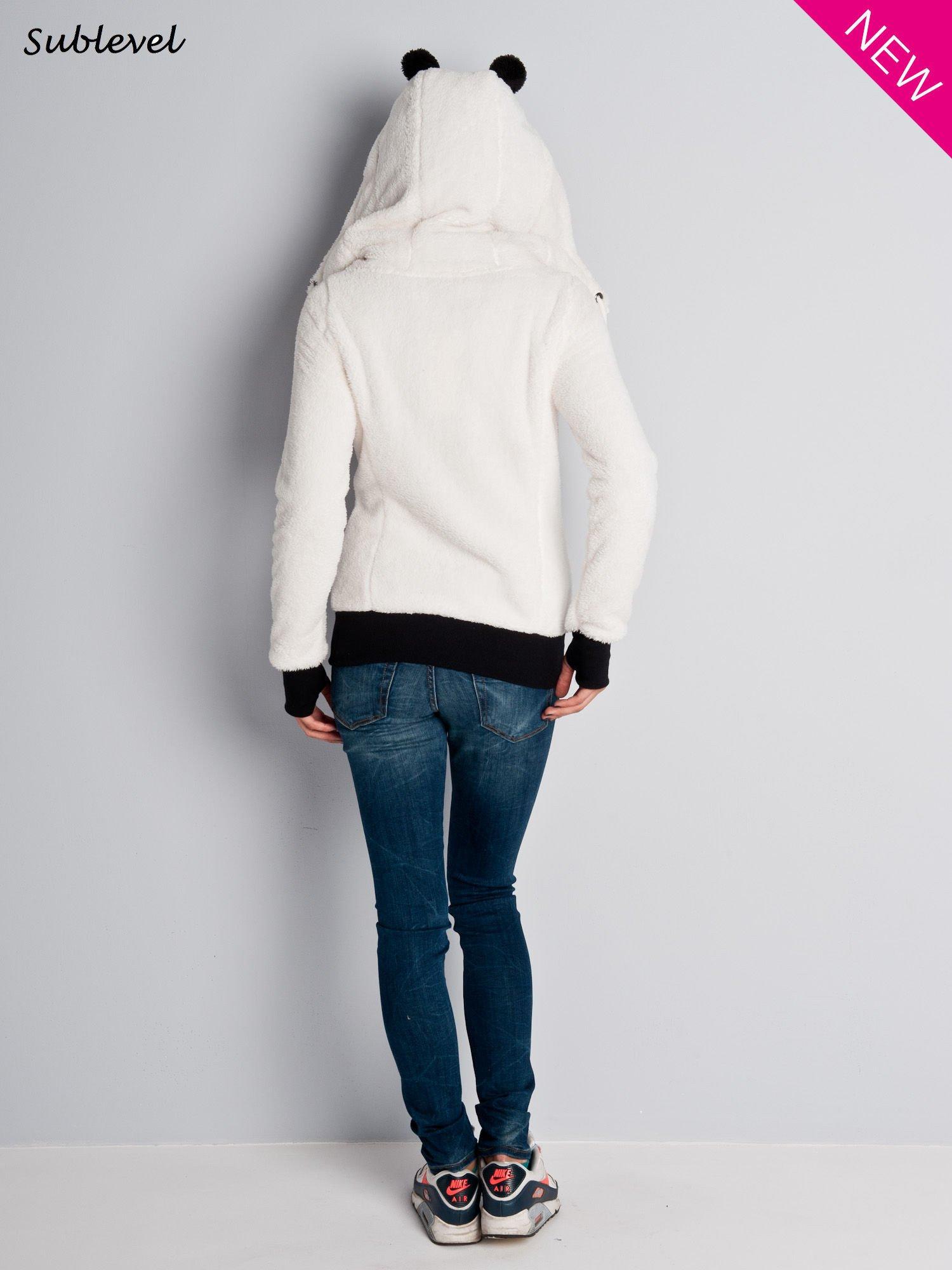 Biała bluza miś z kapturem z uszkami i kieszeniami z łapkami                                  zdj.                                  7