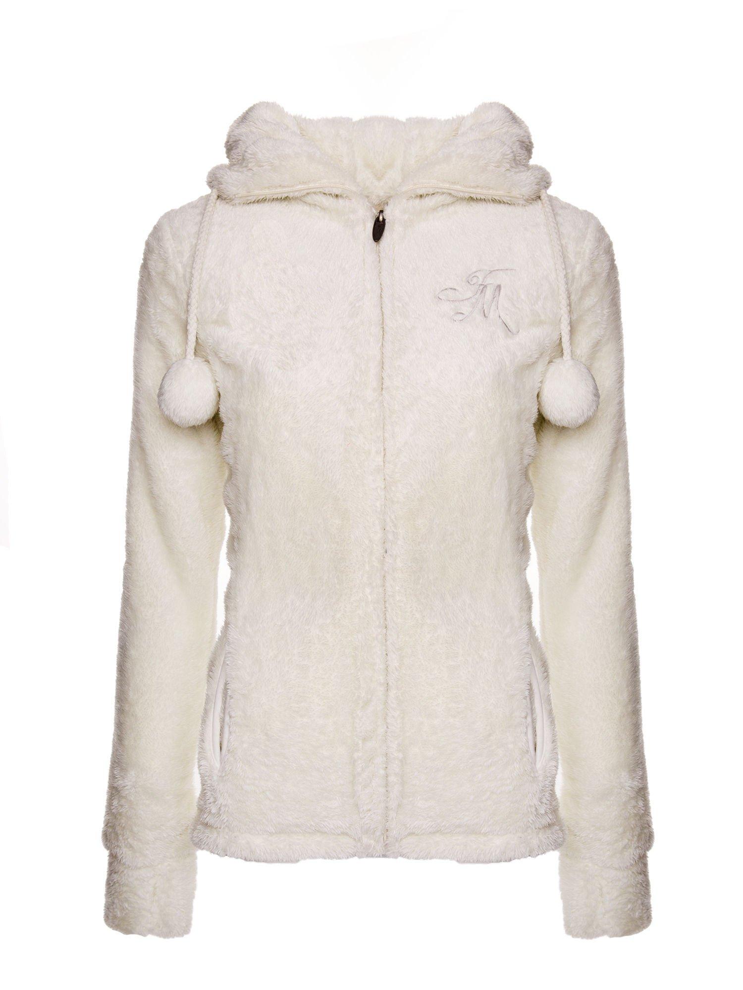 Biała bluza polarowa z kapturem z pomponikami                                  zdj.                                  1