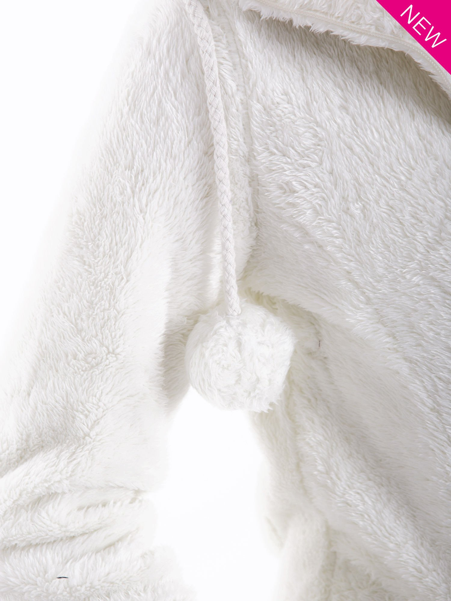 Biała bluza polarowa z kapturem z pomponikami                                  zdj.                                  6