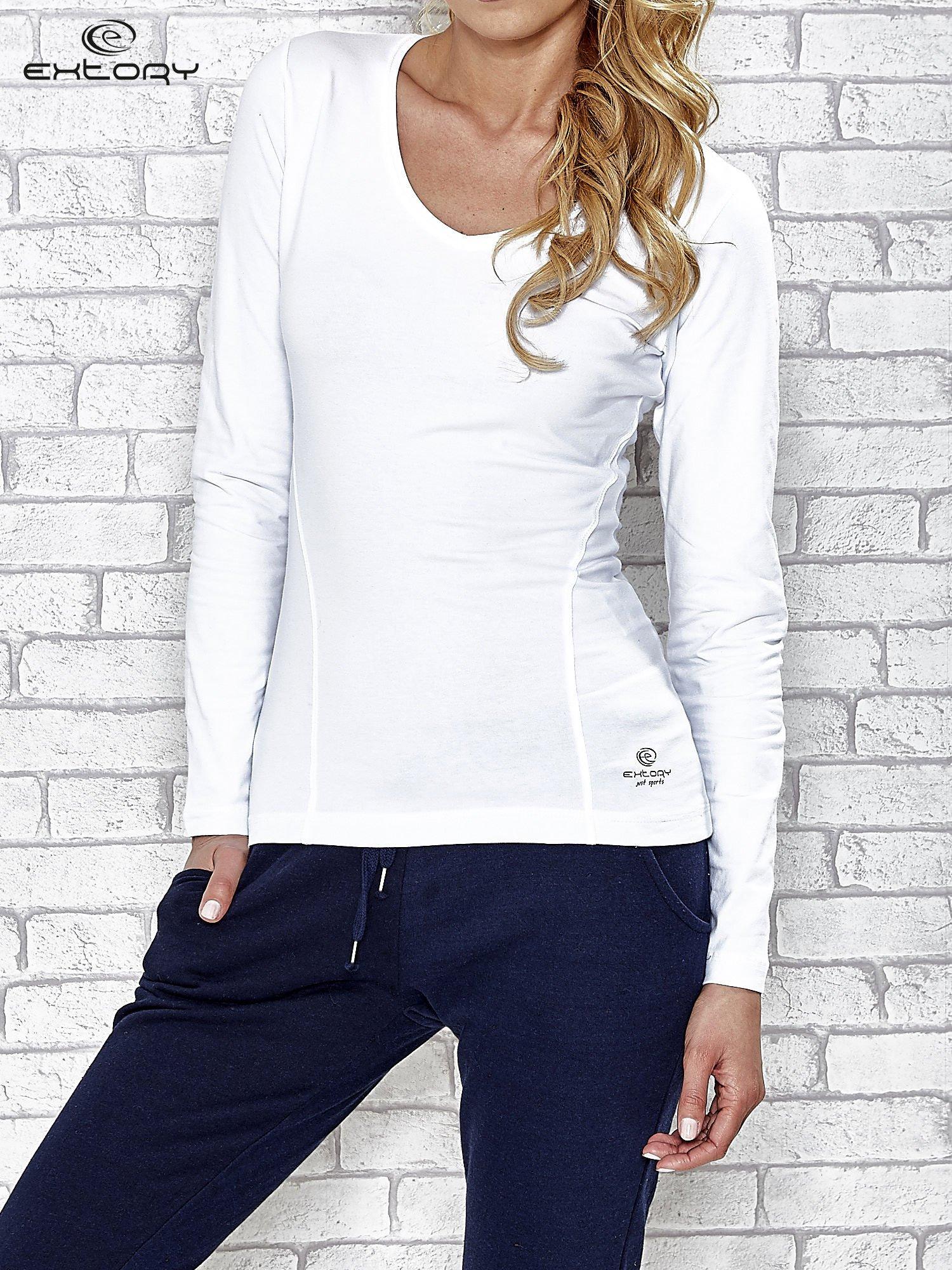 Biała bluzka sportowa z dekoltem V                                  zdj.                                  1