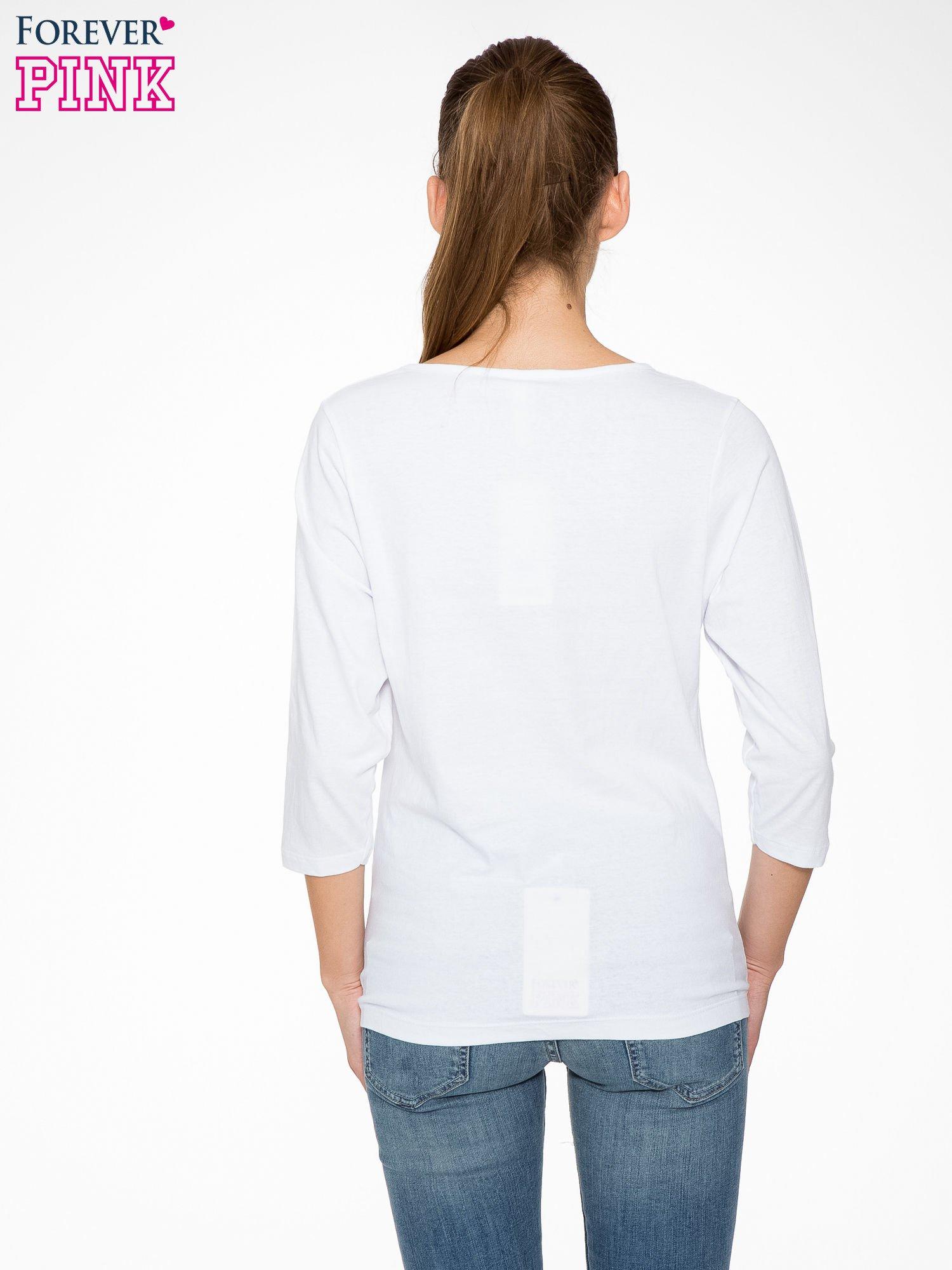 Biała bluzka w stylu fashion z nadrukiem LA VIE EST BELLE                                  zdj.                                  4