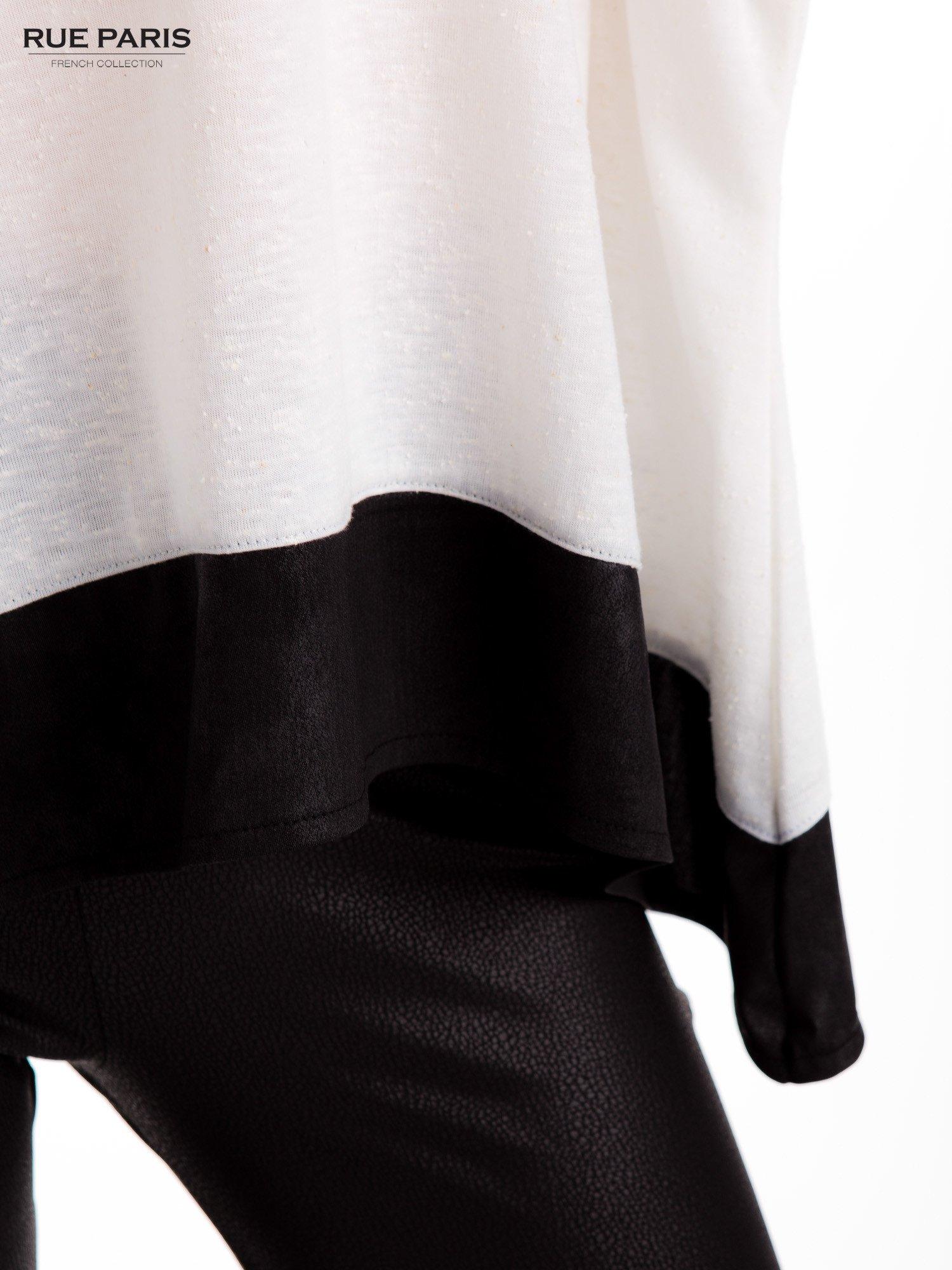 Biała bluzka z kontrastowymi wstawkami                                  zdj.                                  6
