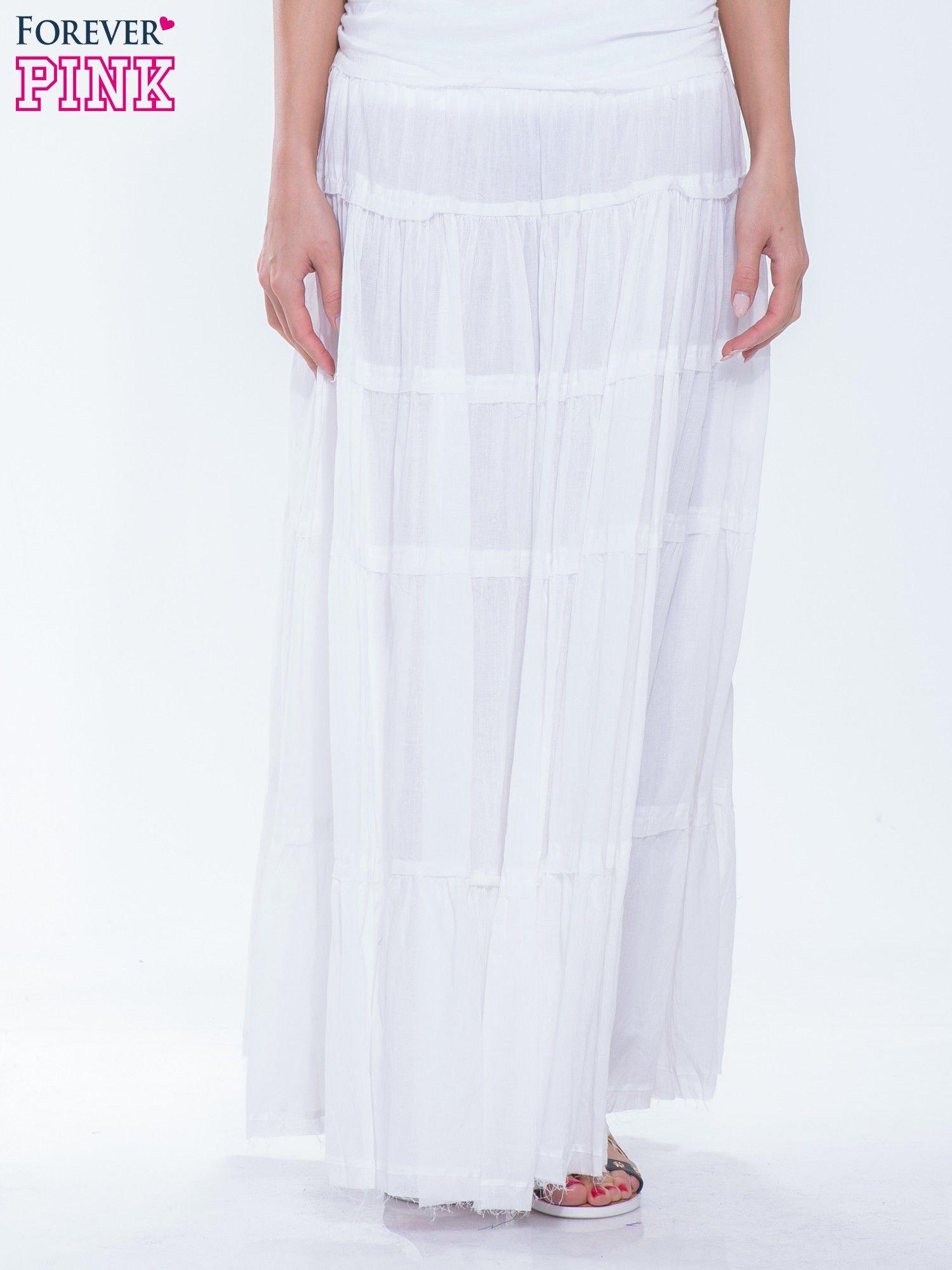 aa6f7650 Biała długa spódnica maxi w stylu boho