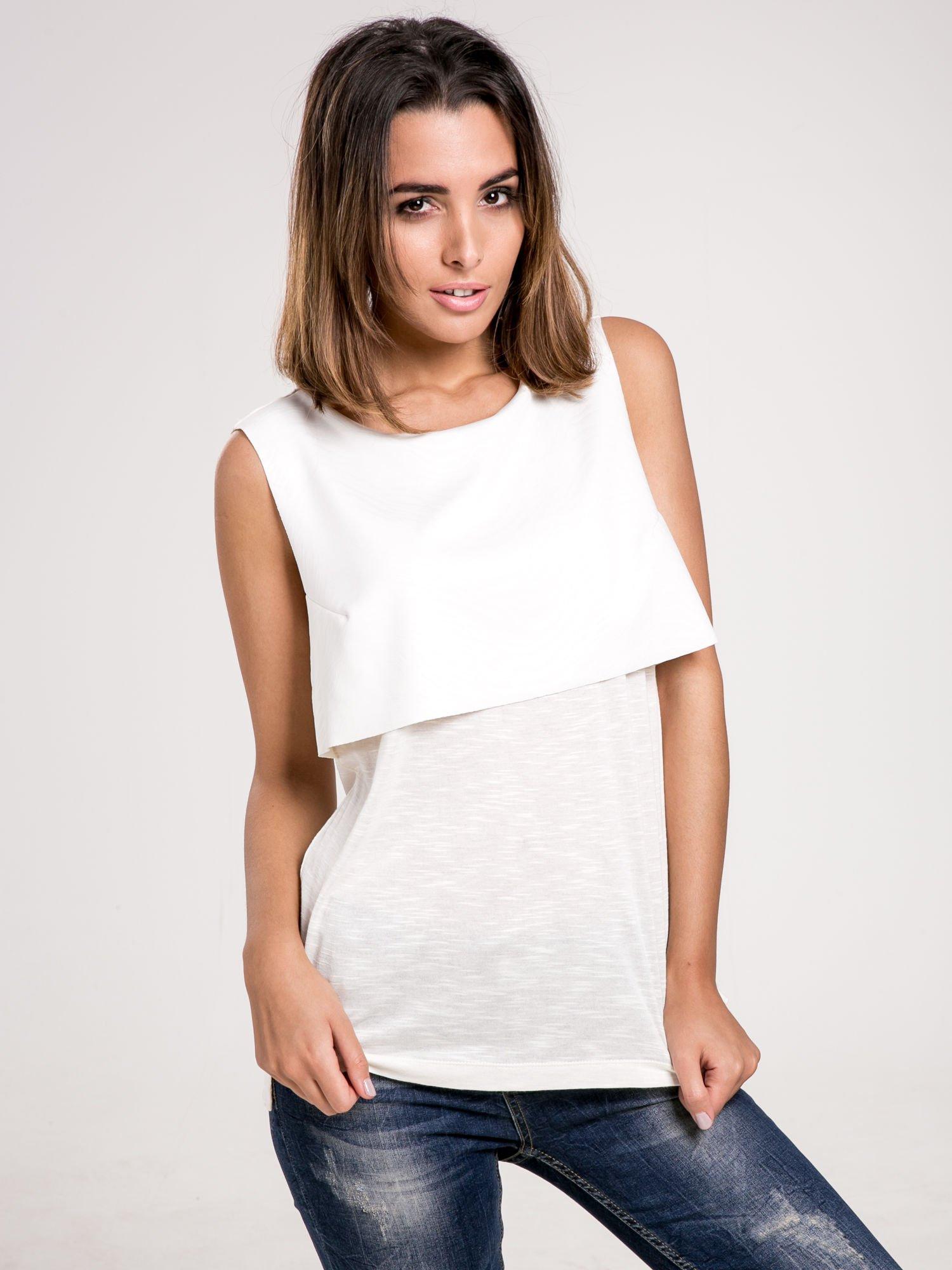 Biała dwuwarstwowa bluzka                                  zdj.                                  1