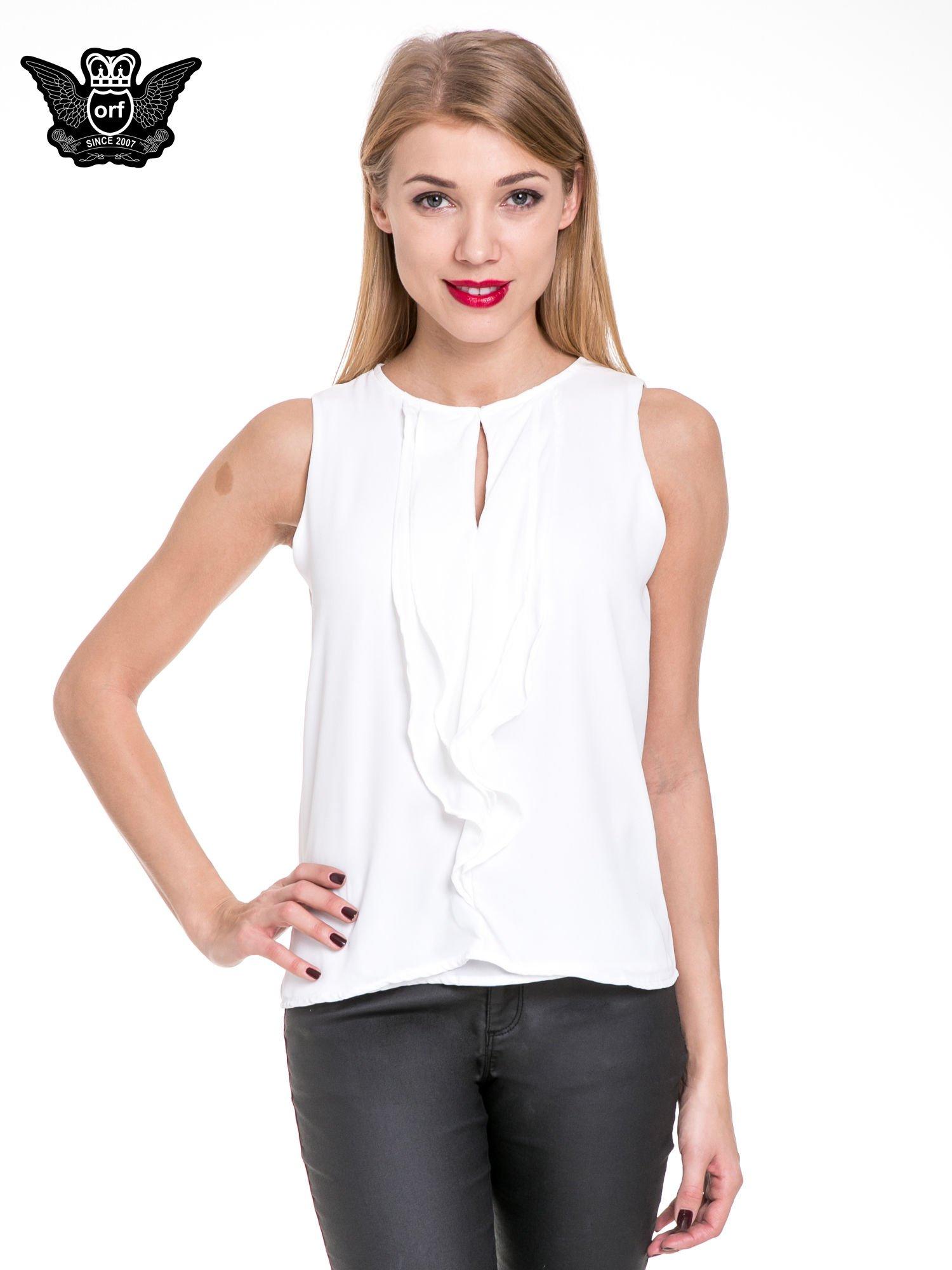 Biała elegancka koszula z żabotem                                  zdj.                                  1