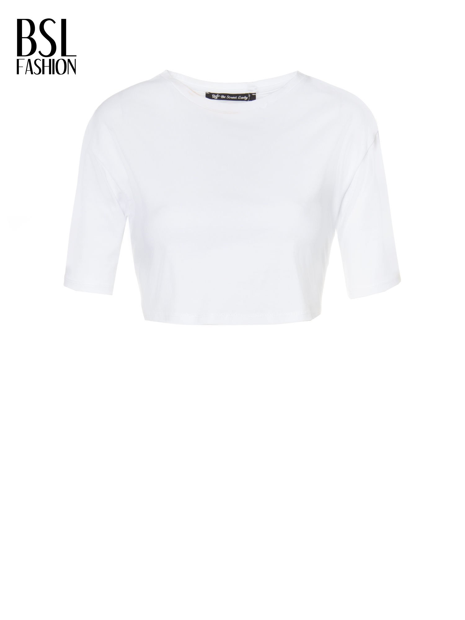 Biała gładka bluzka typu crop top z głębokim dekoltem                                  zdj.                                  5