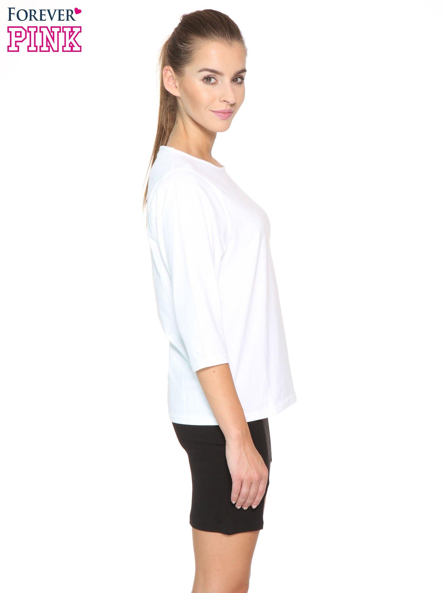 Biała gładka bluzka z rękawem 3/4                                  zdj.                                  3