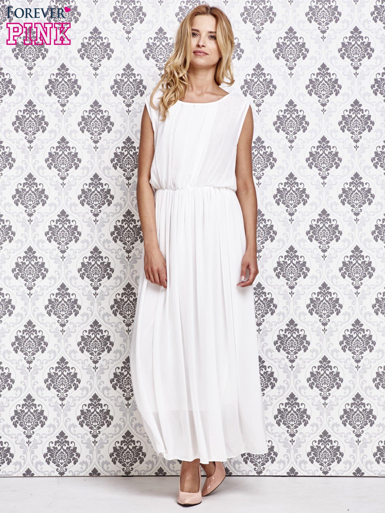 Biała grecka sukienka maxi z koronką z tyłu                                  zdj.                                  2