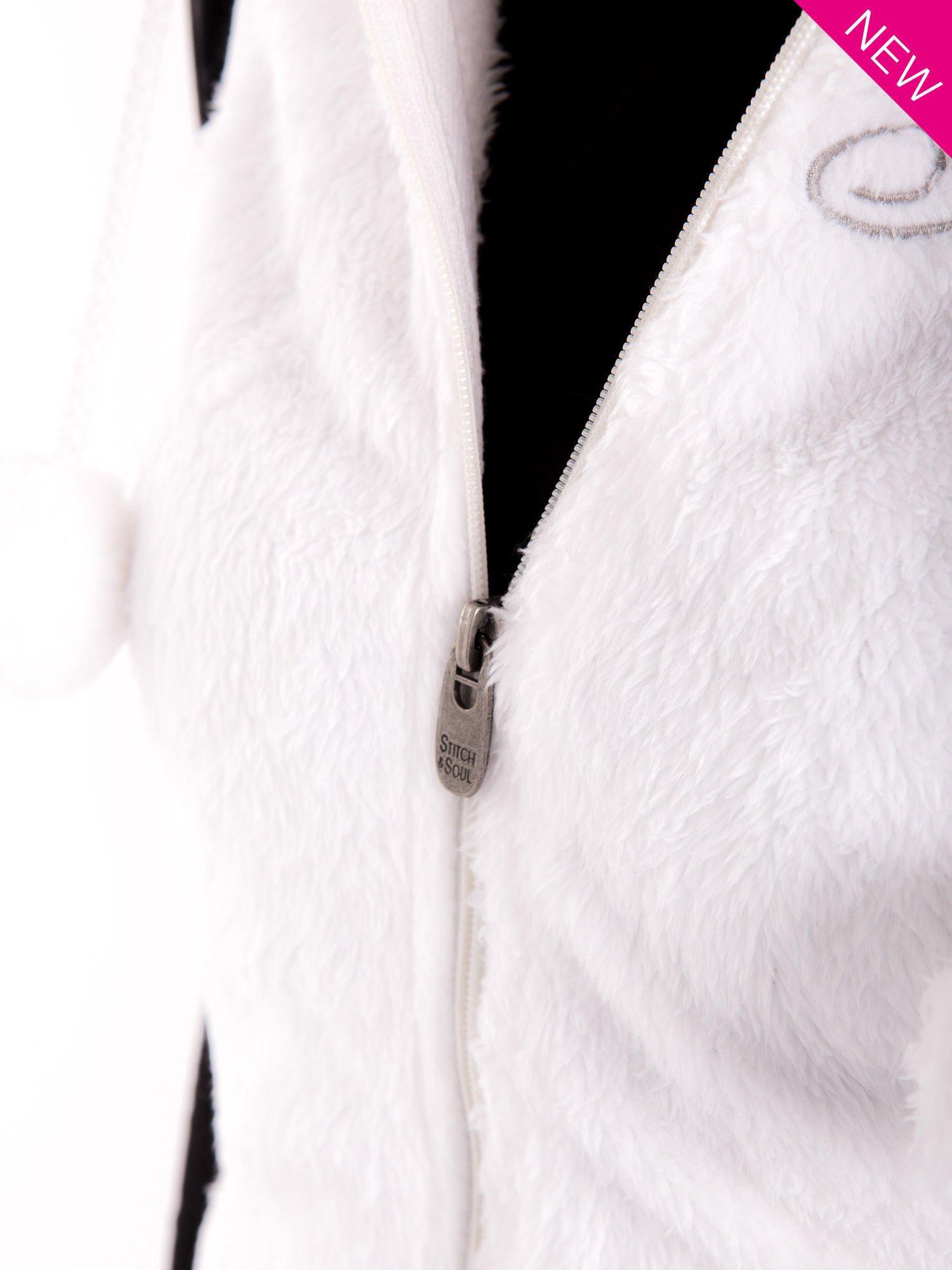 Biała kamizelka z kapturem z uszkami i pomponami                                  zdj.                                  7
