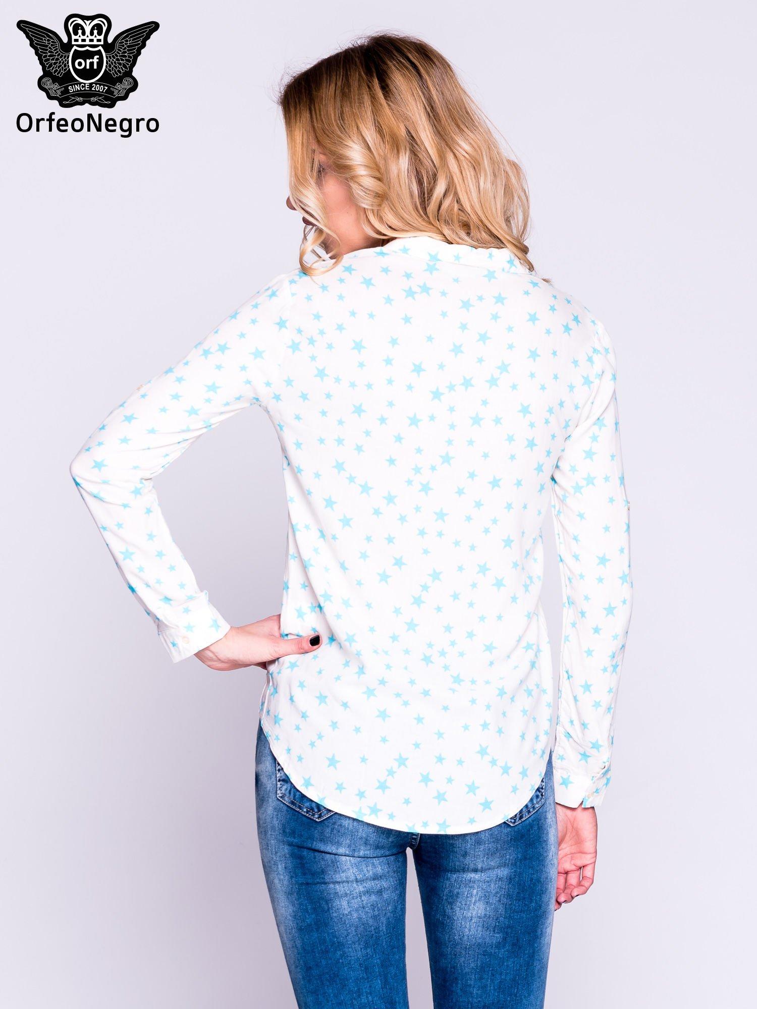 Biała klasyczna koszula damska w gwiazki                                  zdj.                                  3