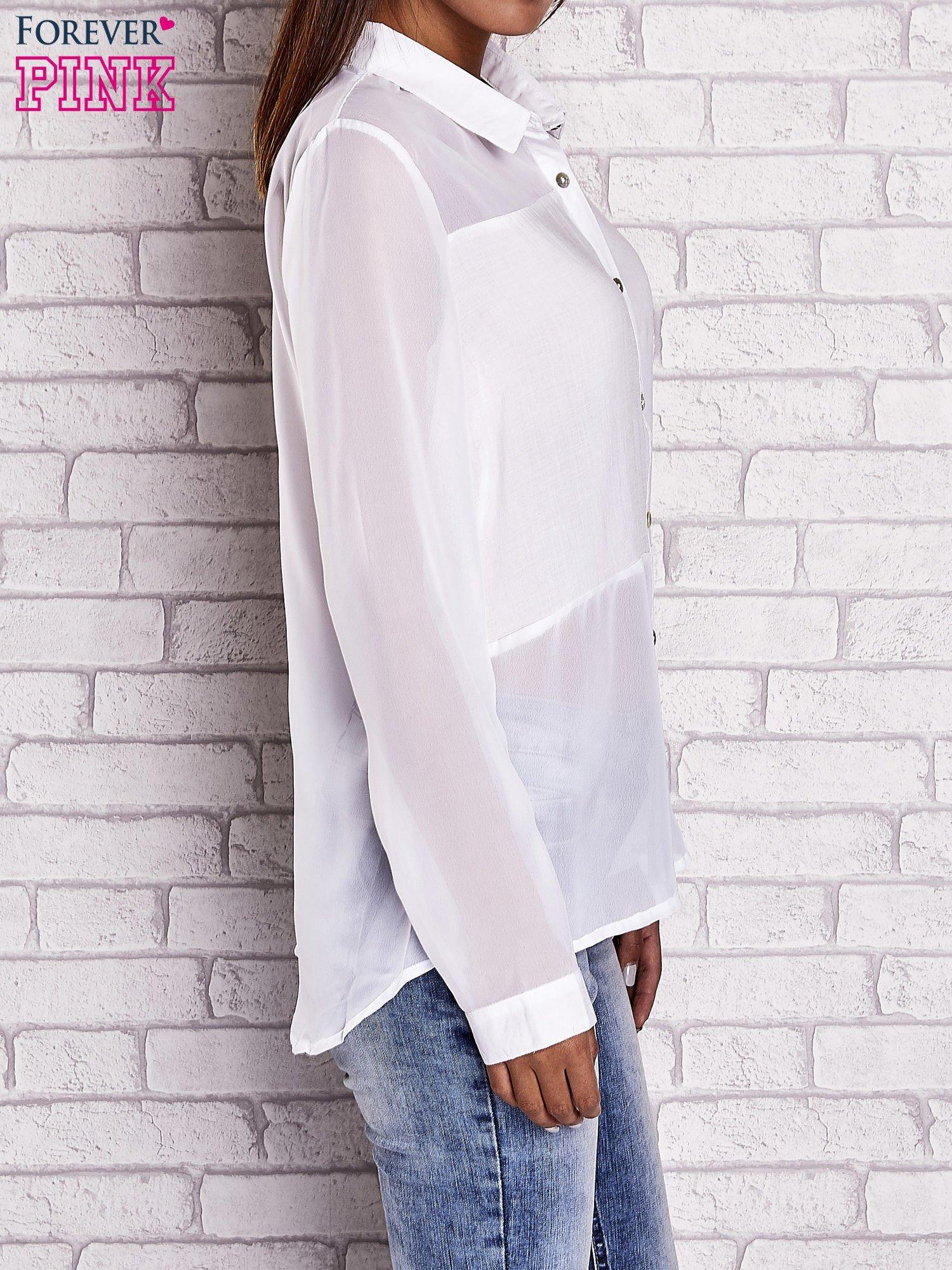 Biała koszula mgiełka z dłuższym tyłem                                  zdj.                                  3