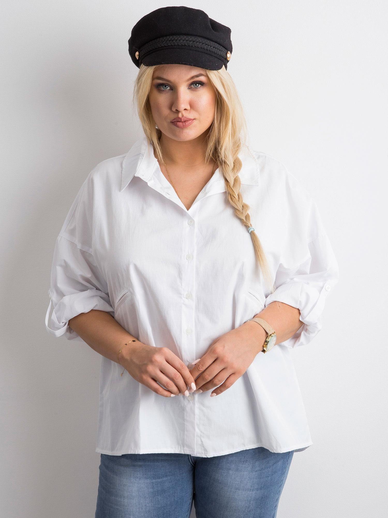 57190358a90c7 Biała koszula z haftem PLUS SIZE - Koszula plus size - sklep eButik.pl