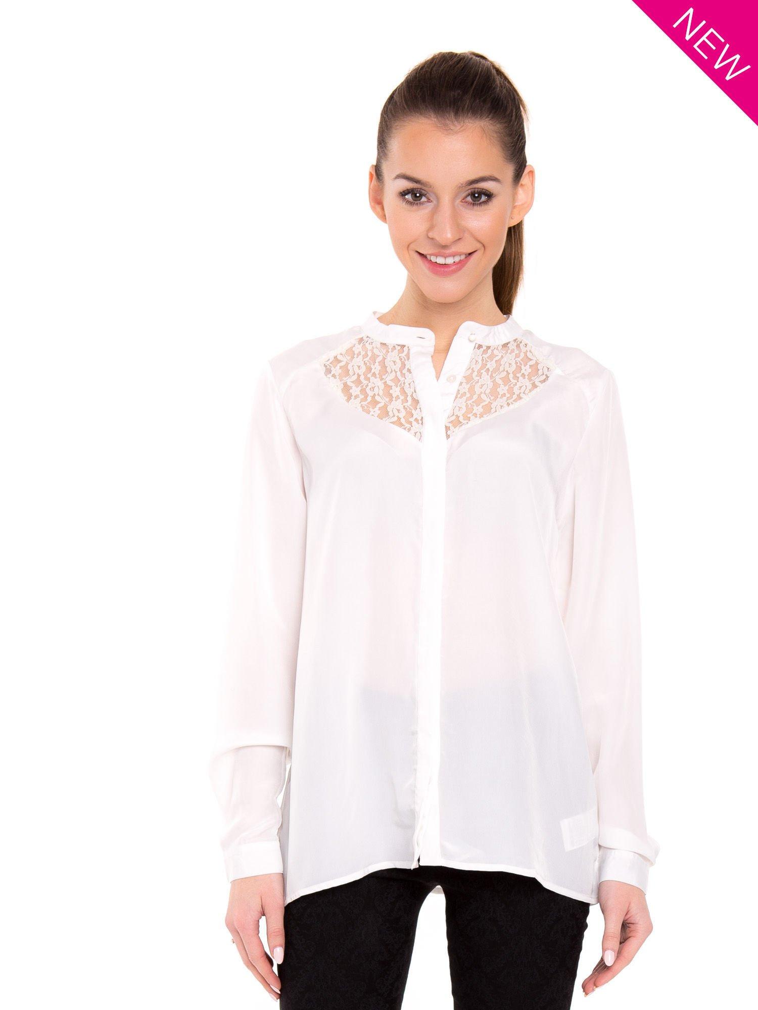 23e63a9674267 Biała koszula z koronkowym żabotem w stylu wiktoriańskim - Koszula ...