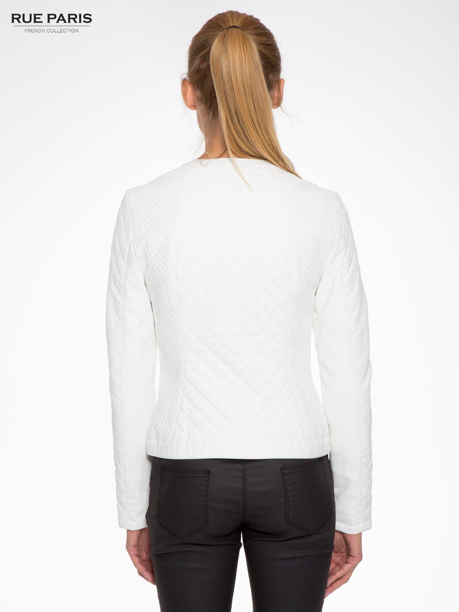 Biała pikowana kurtka ze skóry                                  zdj.                                  4