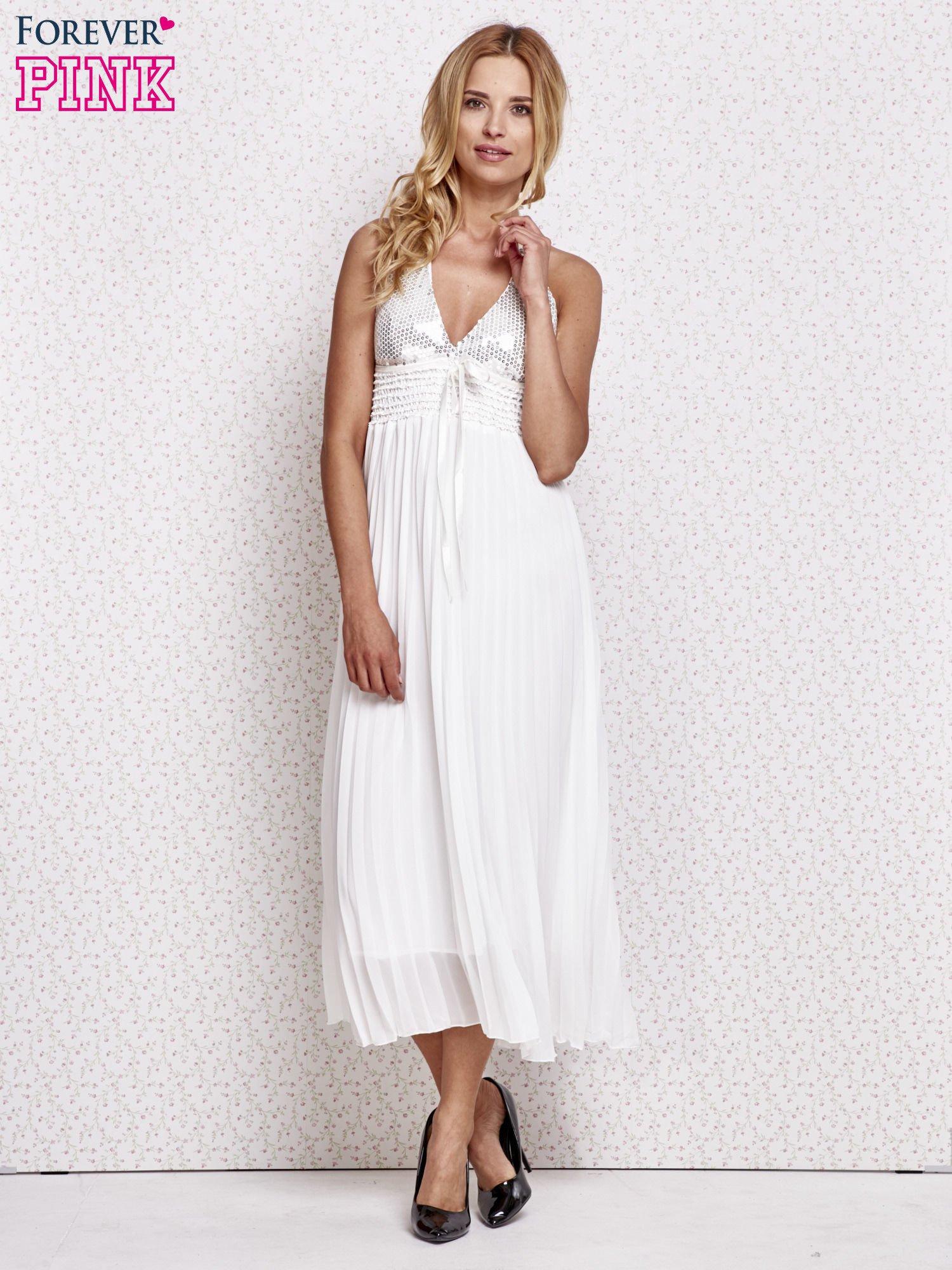 Biała plisowana sukienka maxi wiązana na plecach                                  zdj.                                  2