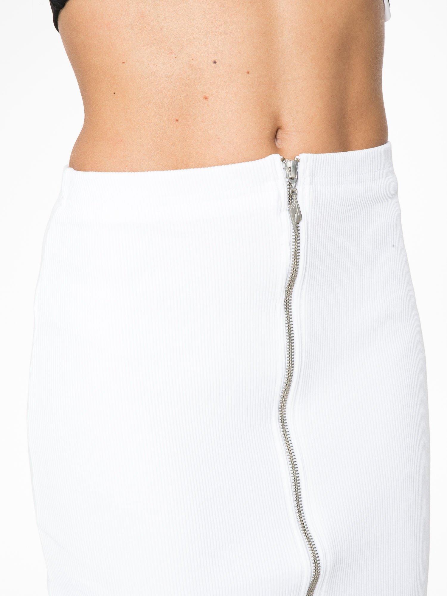 Biała spódnica midi z suwakiem z przodu                                  zdj.                                  7