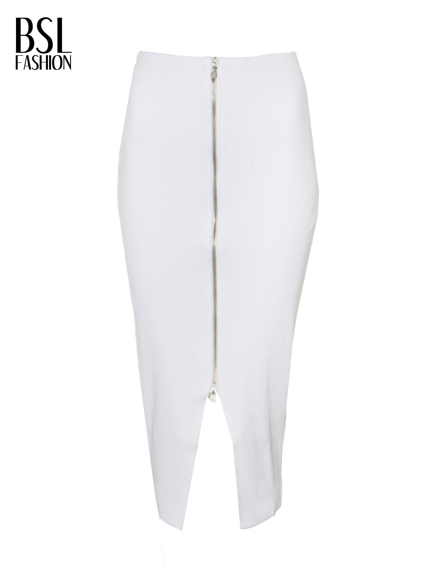 Biała spódnica midi z suwakiem z przodu                                  zdj.                                  2