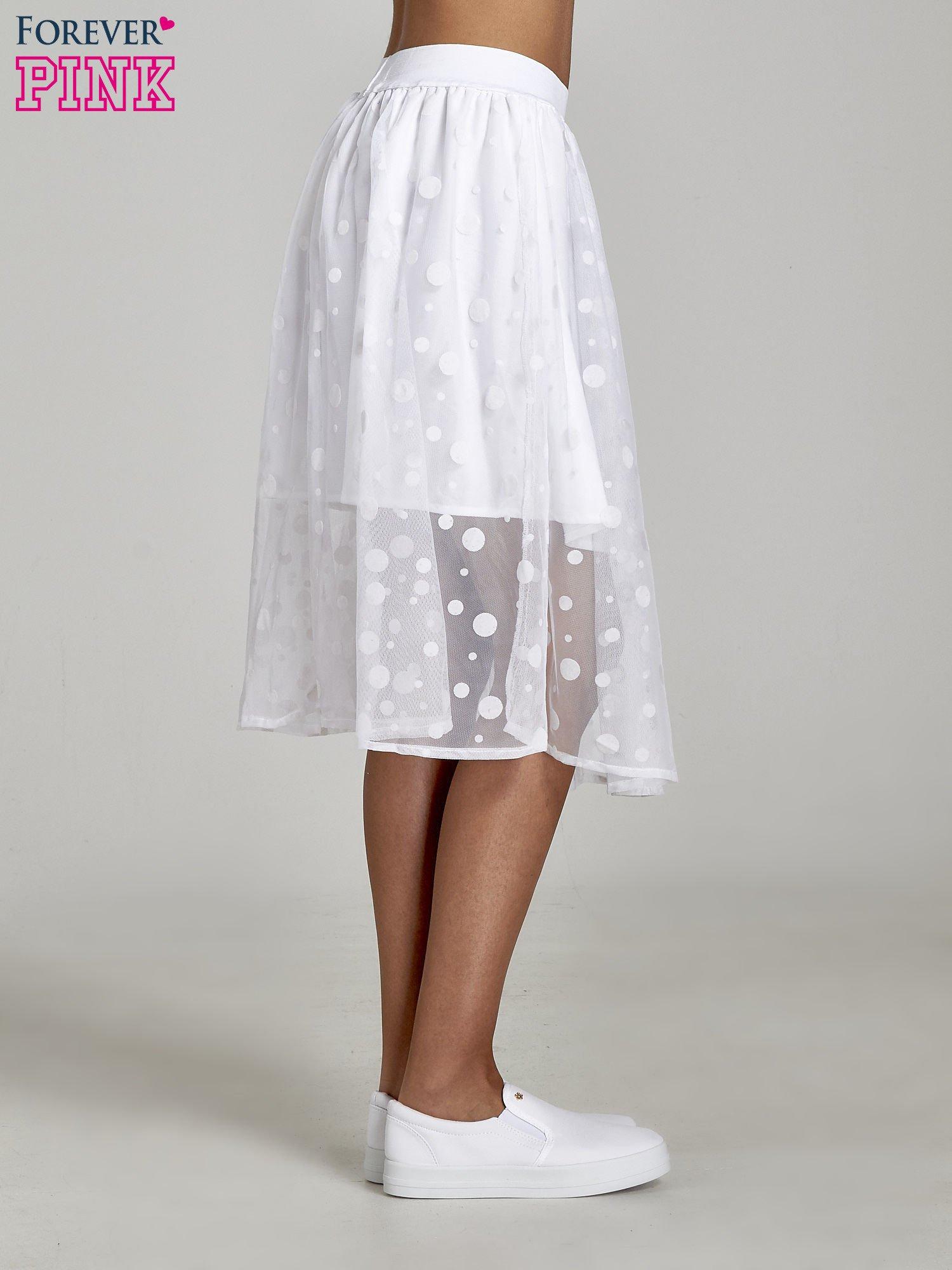 Biała spódnica z tiulową warstwą w groszki                                  zdj.                                  3