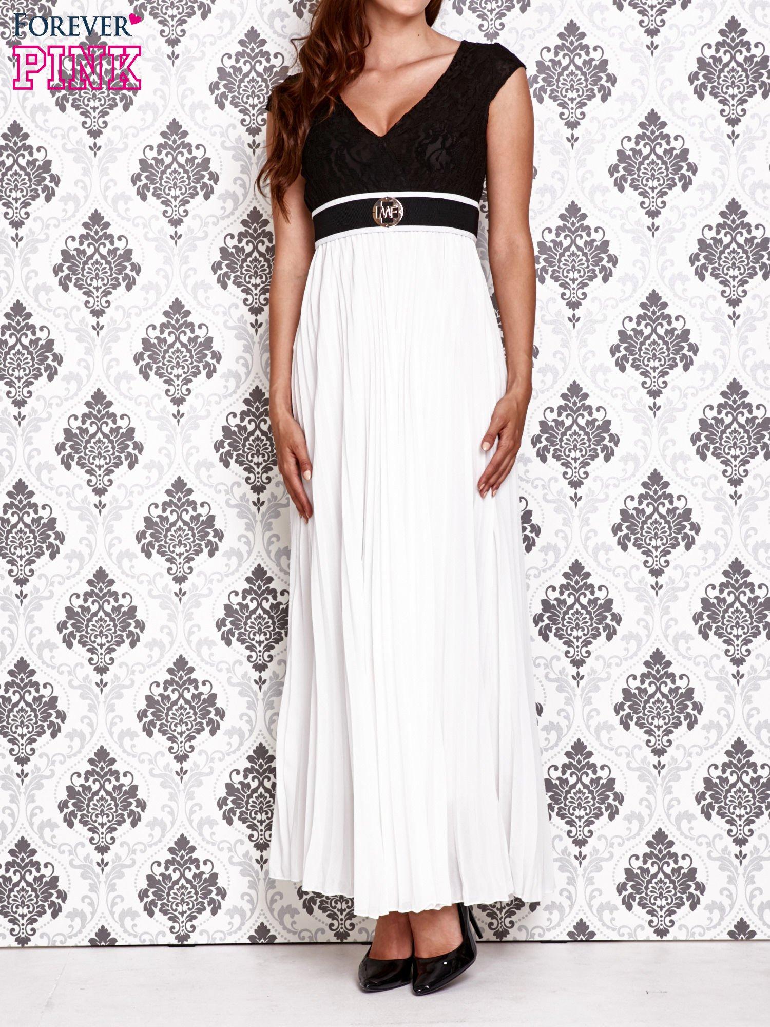 Biała sukienka maxi z koronkową górą i klamrą                                  zdj.                                  1