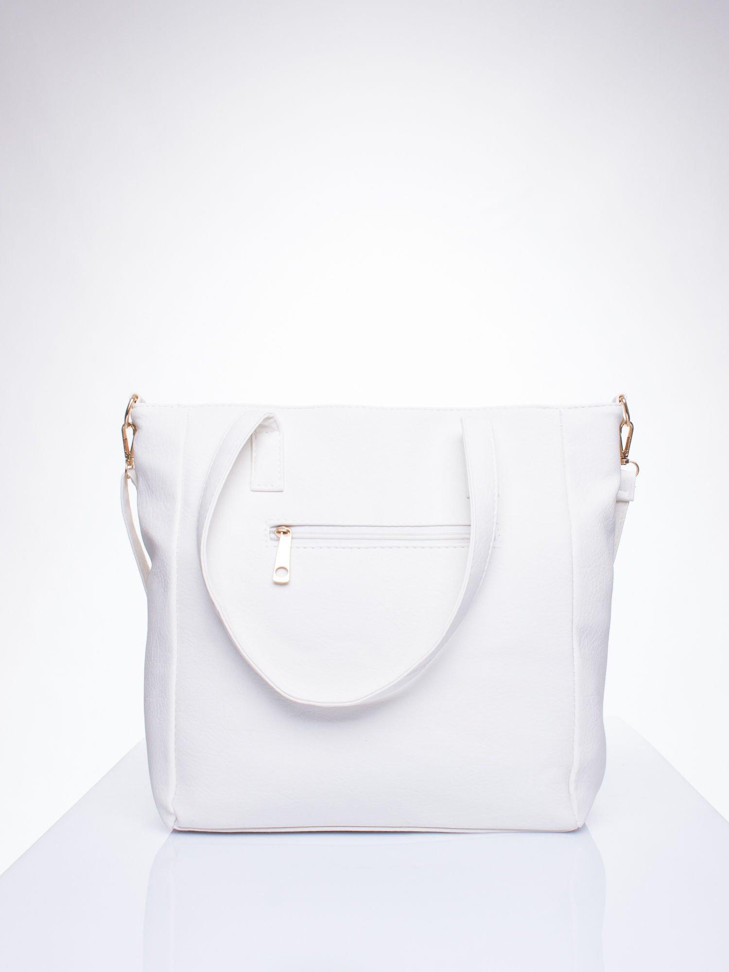 Biała torba shopper bag ze kieszeniami na klapki                                  zdj.                                  3