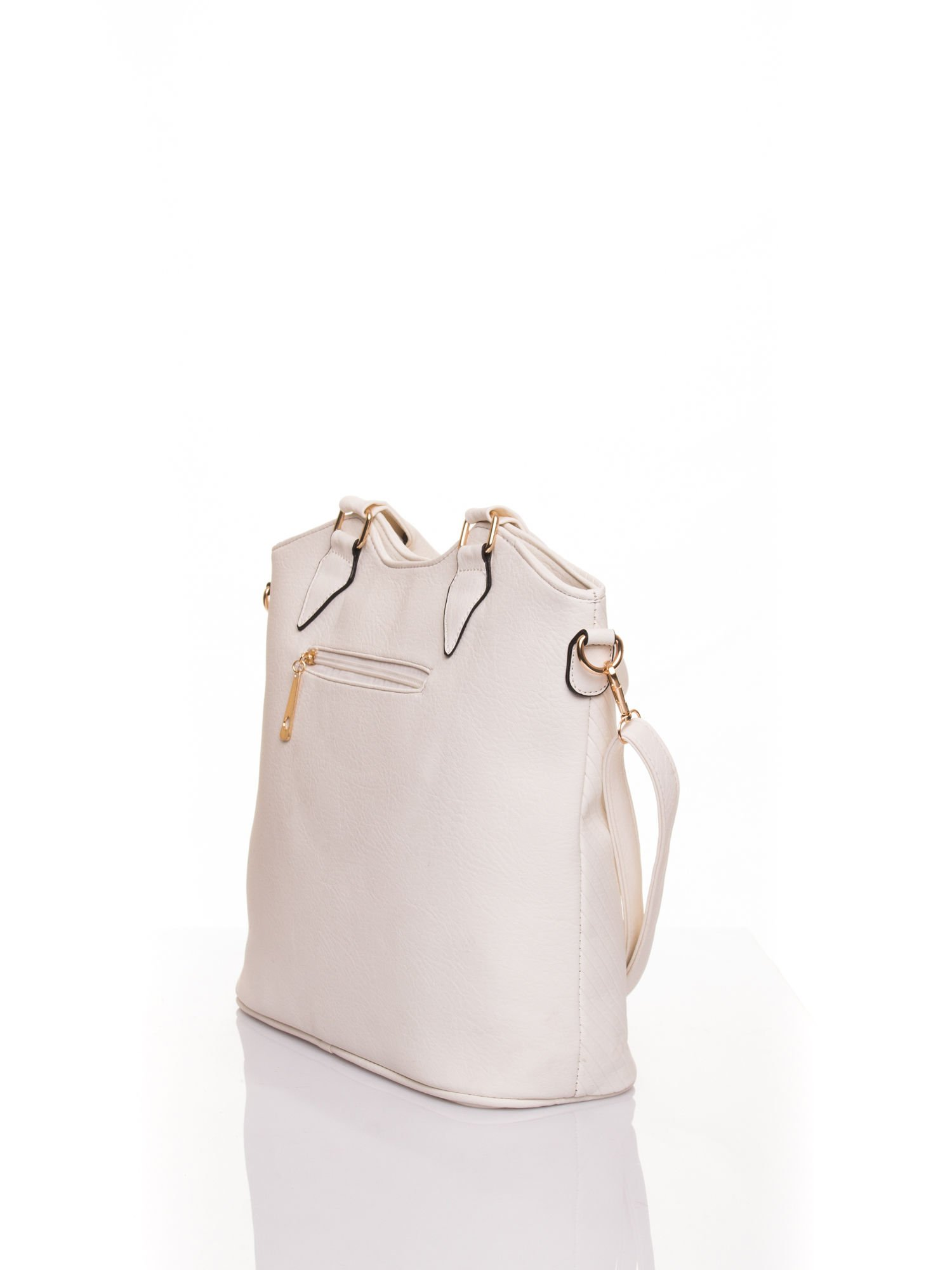 Biała torebka fakturowana w pasy                                   zdj.                                  4
