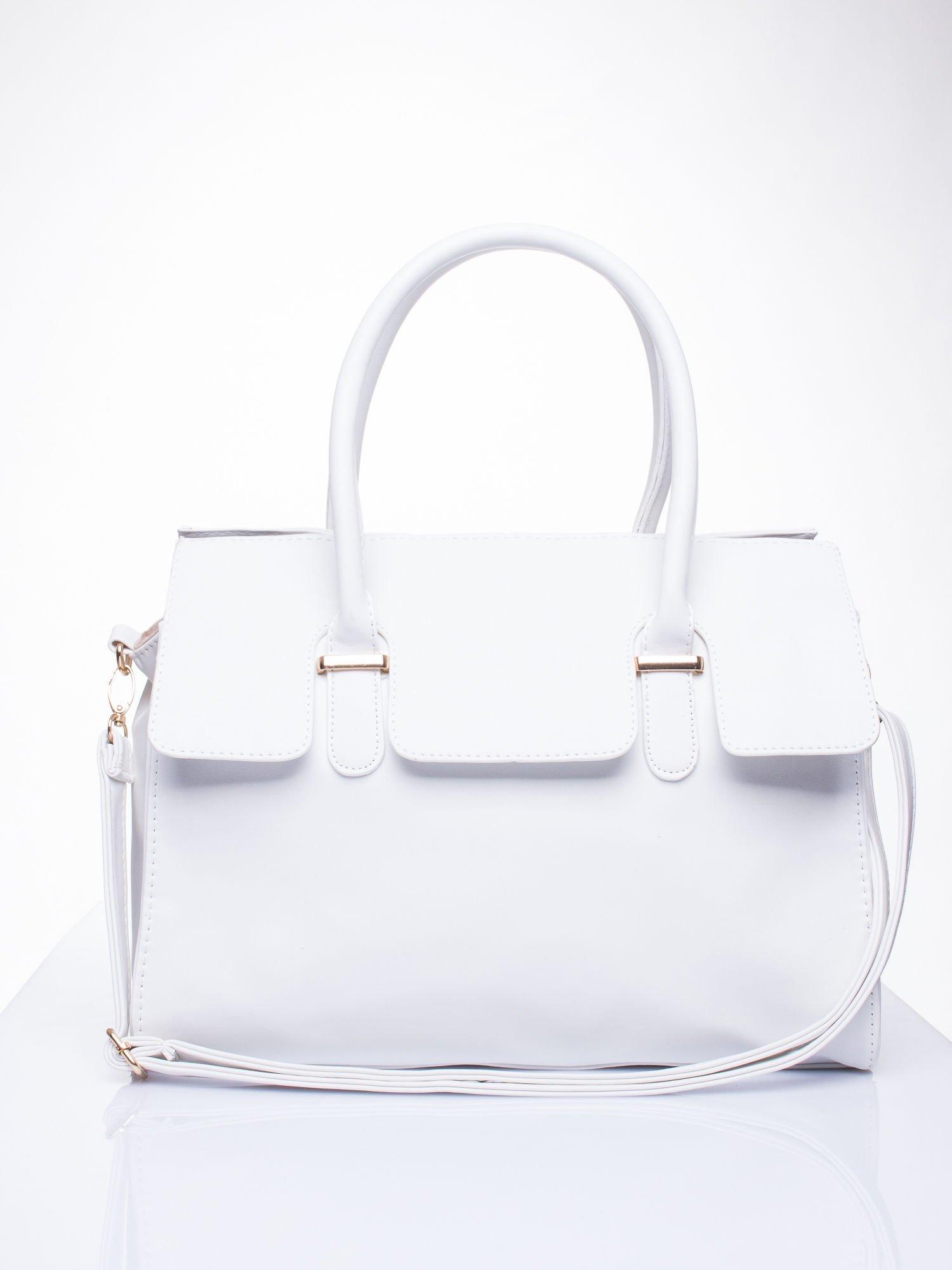 Biała torebka teczka z klapką                                  zdj.                                  2