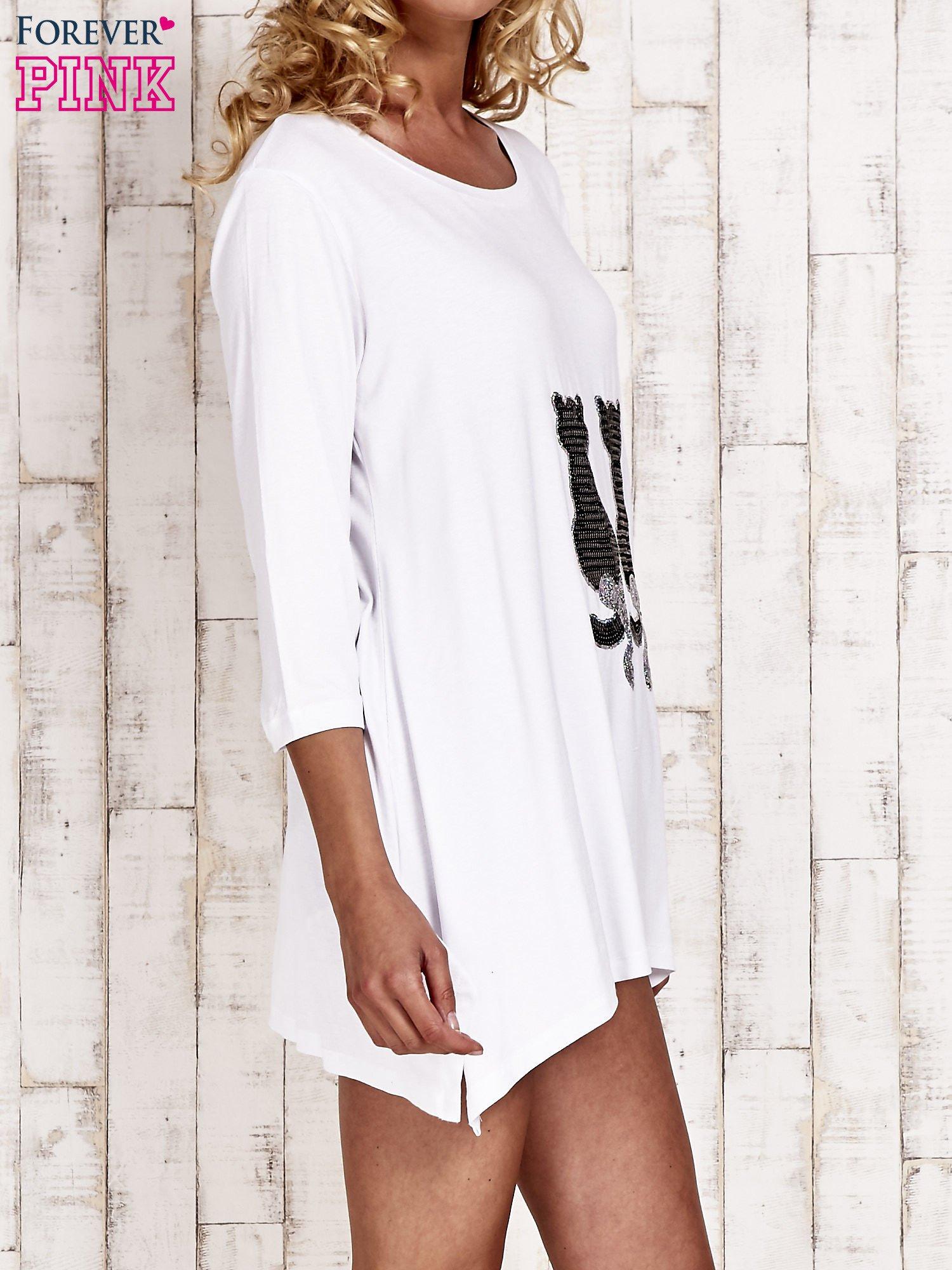 Biała tunika dresowa z aplikacją kotów z cekinów                                  zdj.                                  3