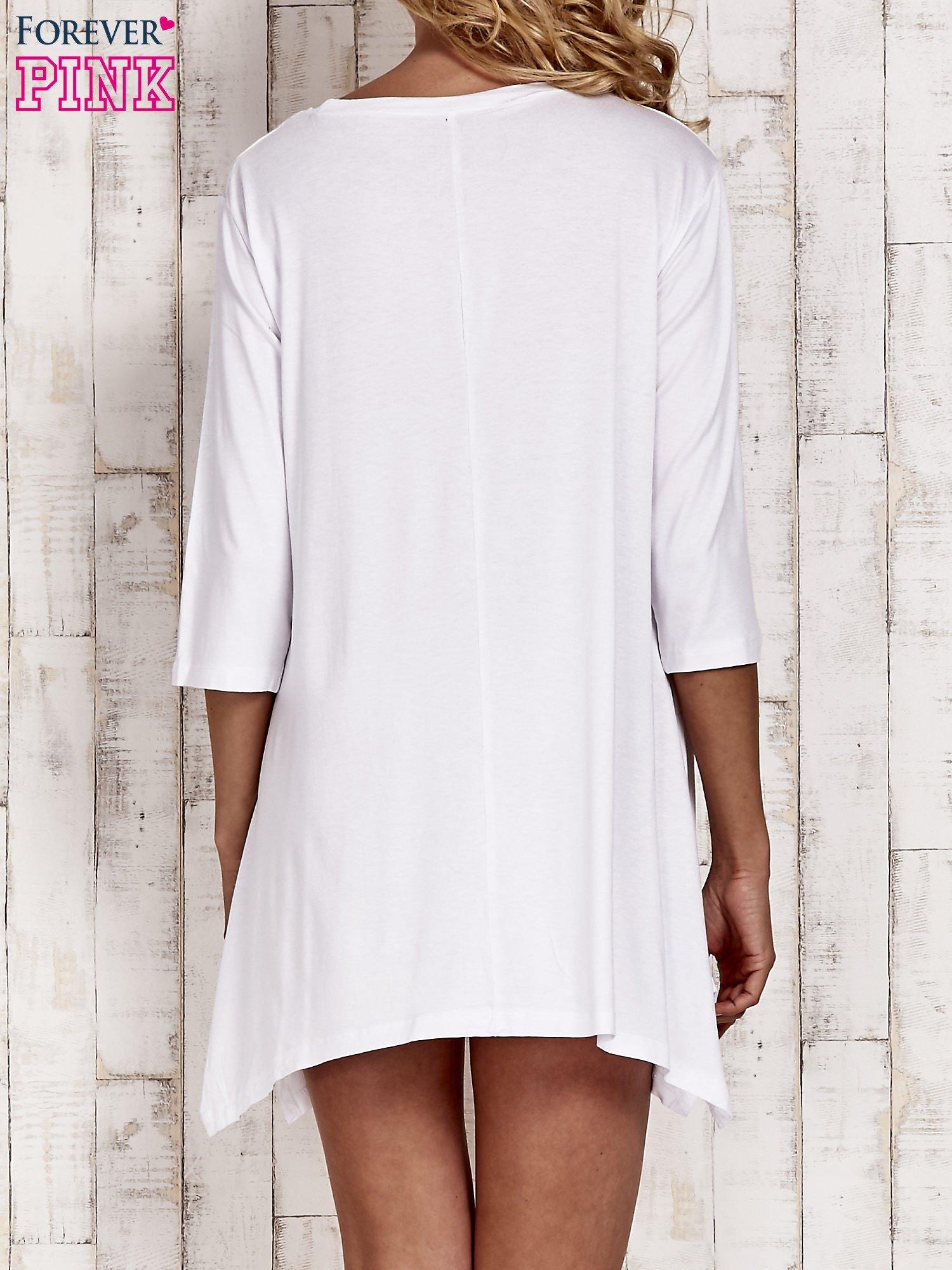 Biała tunika dresowa z printem gwiazdy                                  zdj.                                  4