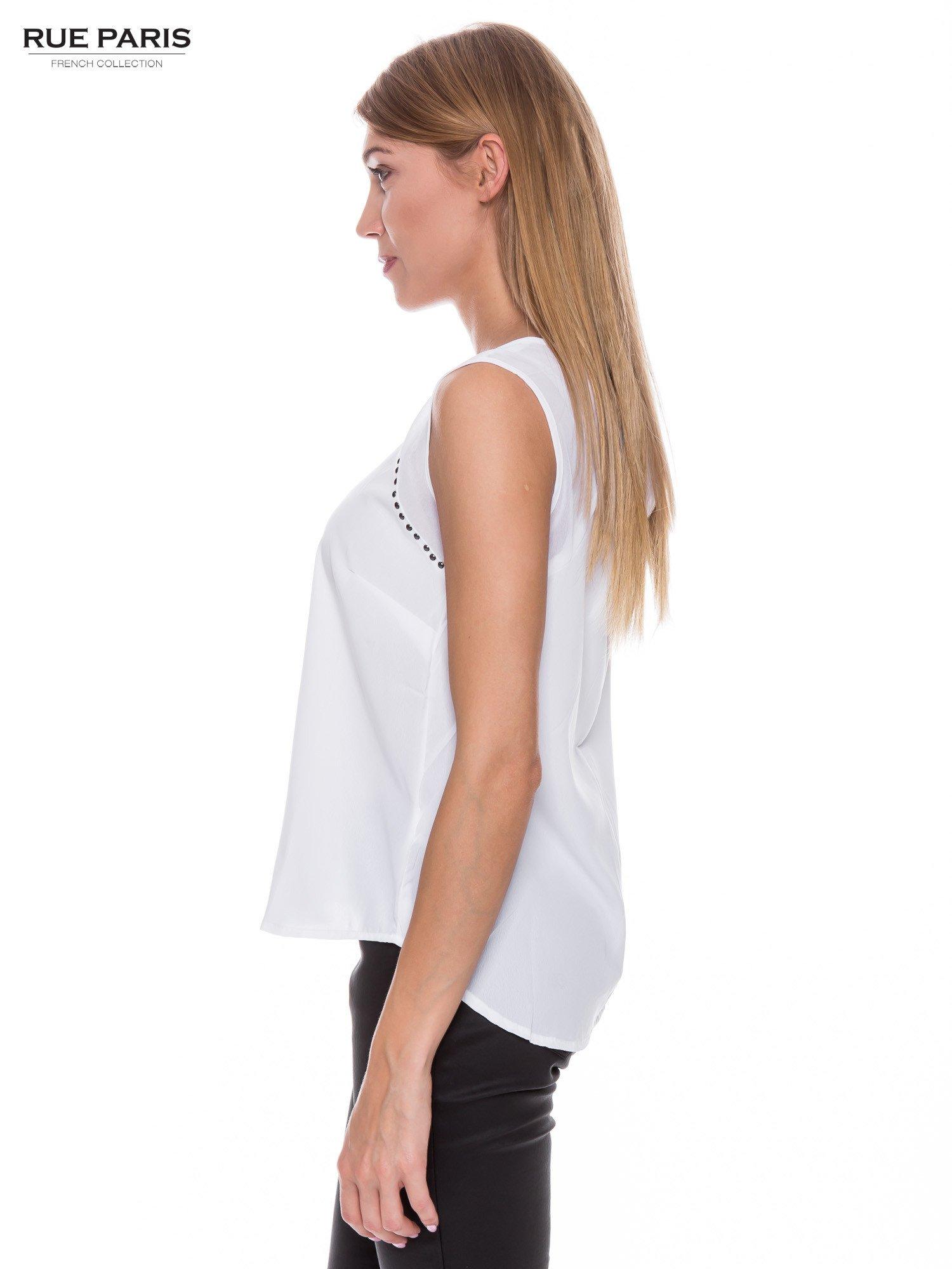 Biała zwiewna koszula z dżetami                                  zdj.                                  2
