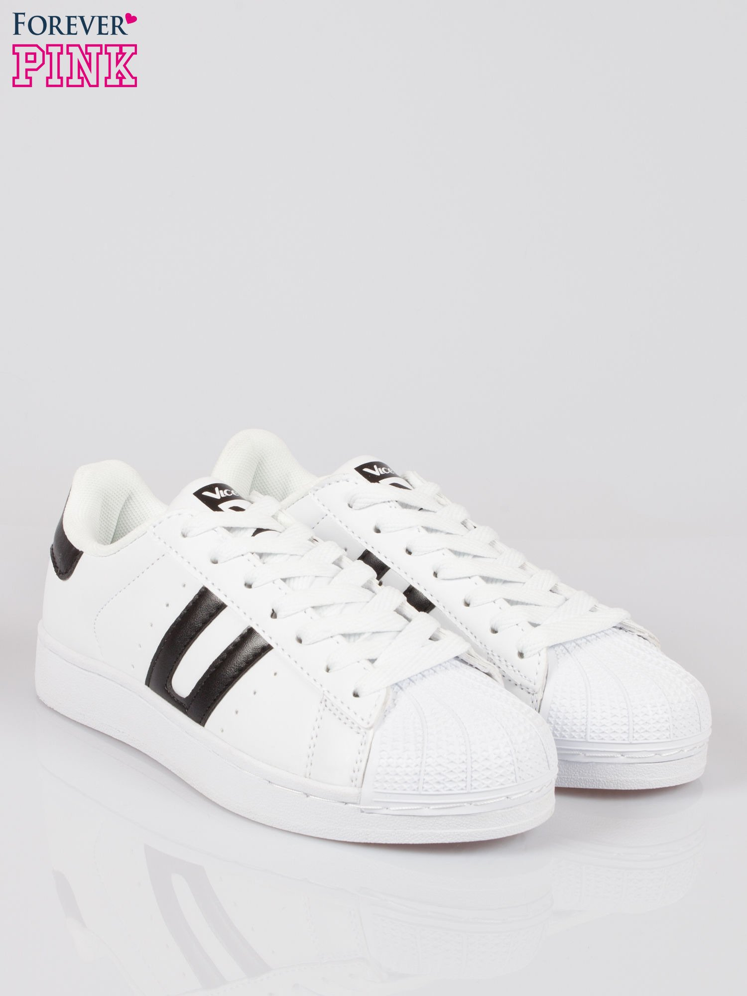 Białe adidasy damskie z czarną wstawką                                  zdj.                                  2