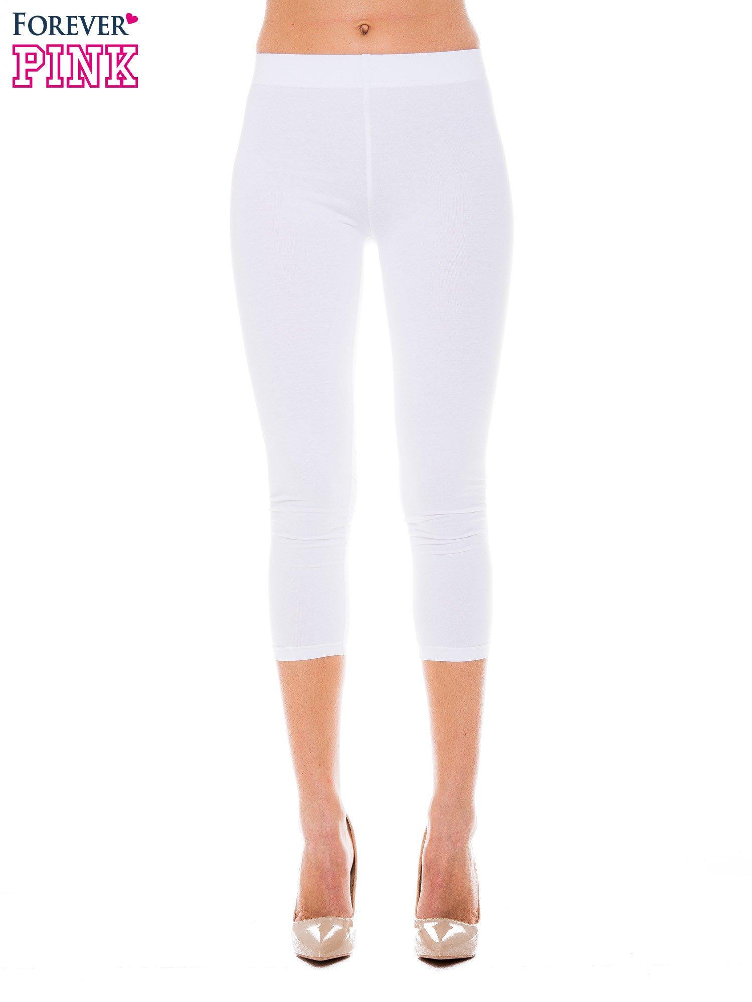 Białe bawełniane legginsy 3/4                                  zdj.                                  1