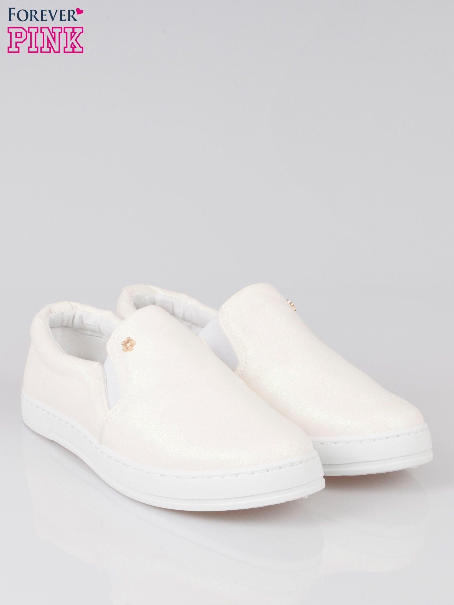 Białe buty sliponki glitter                                  zdj.                                  2