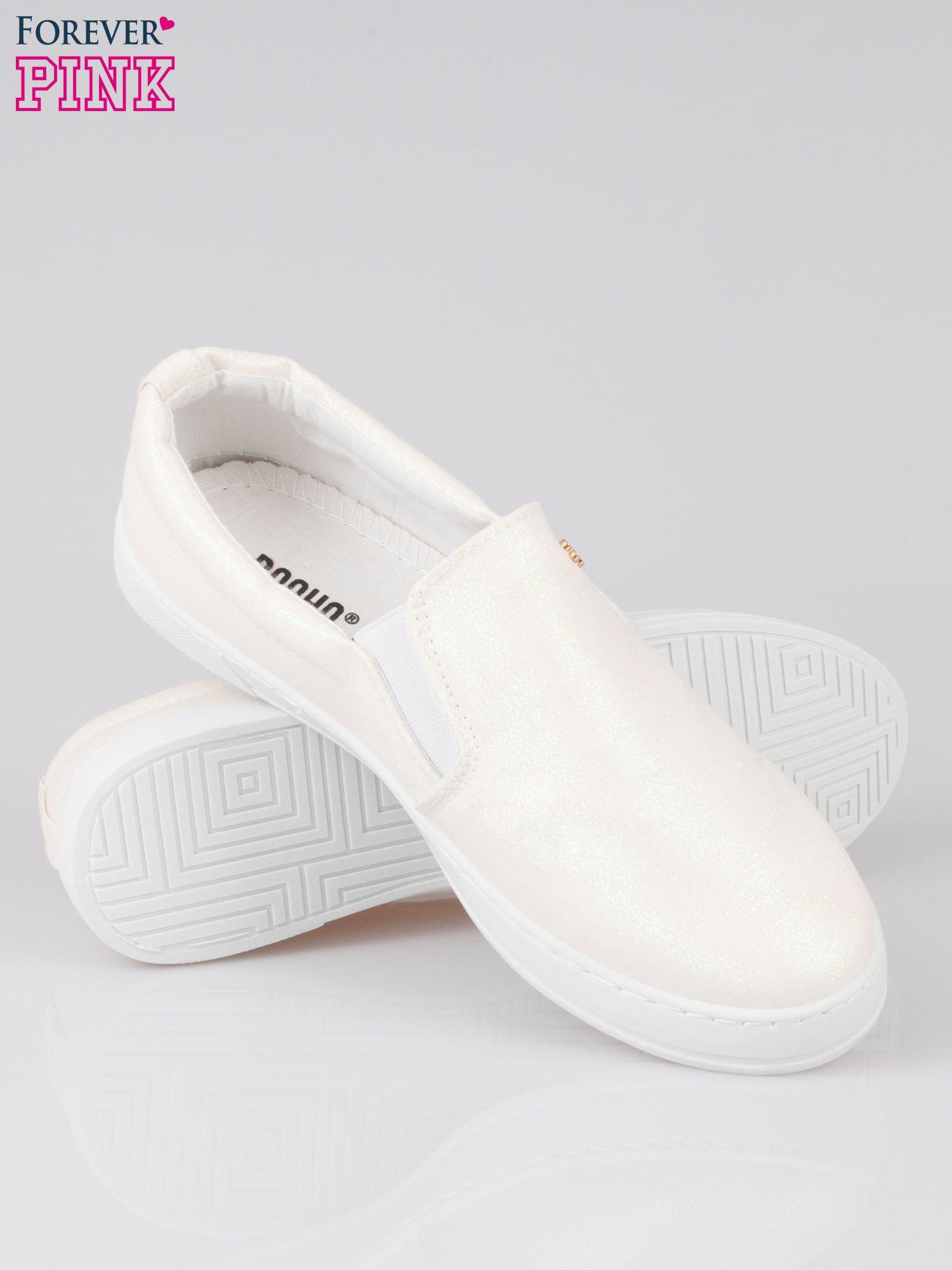 Białe buty sliponki glitter                                  zdj.                                  4