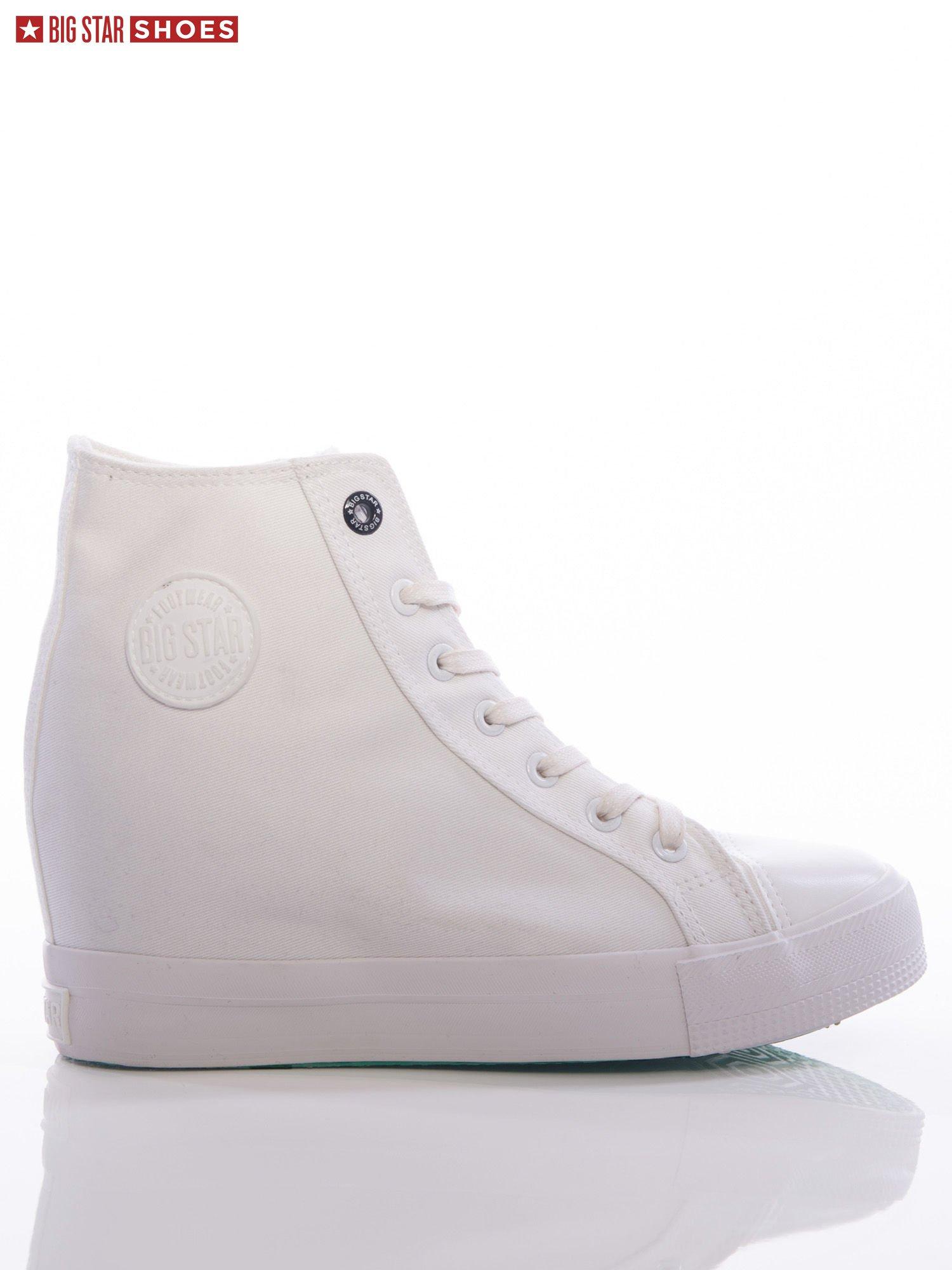 15319192 Białe gładkie sneakresy Big Star z cholewką za kostkę - Buty Sneakersy -  sklep eButik.pl