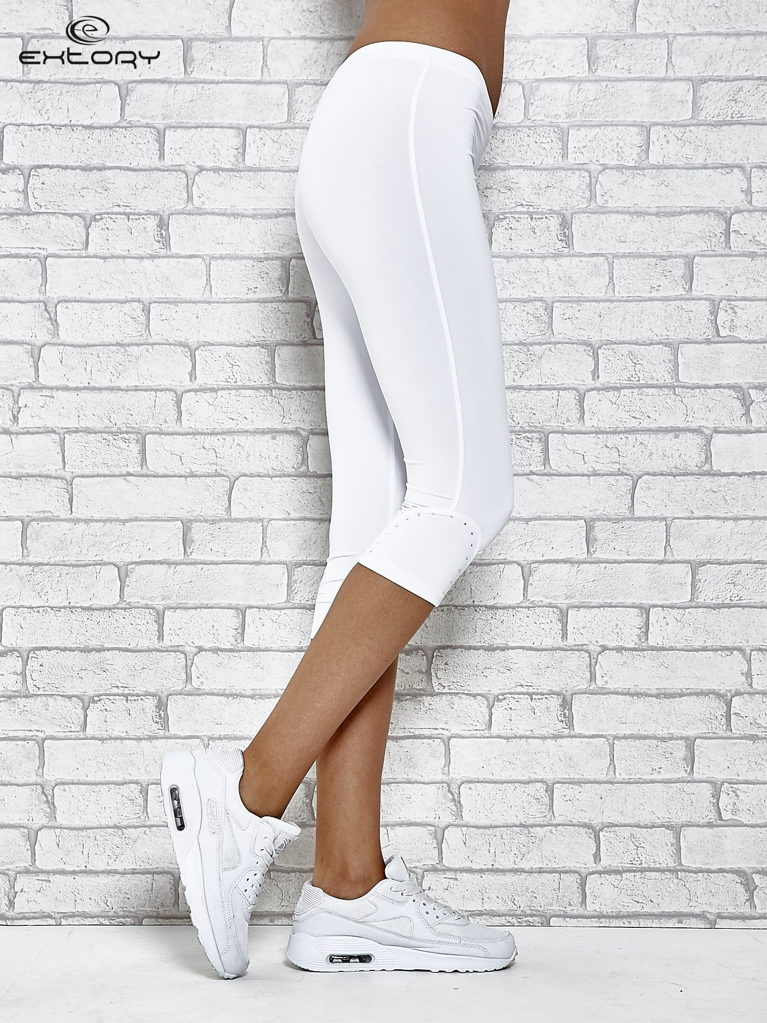 Białe legginsy sportowe termalne z dżetami na nogawkach                                  zdj.                                  2