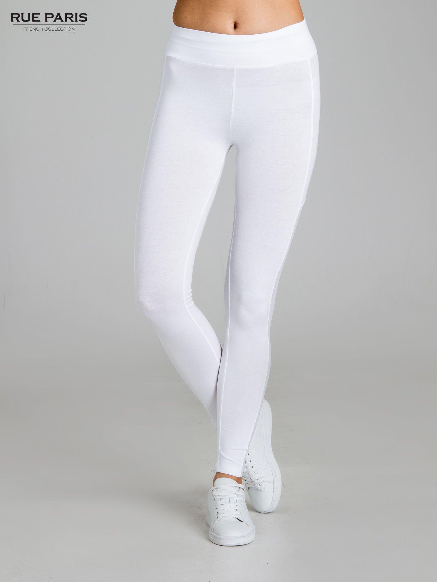Białe legginsy z tiulową siateczką                                   zdj.                                  1