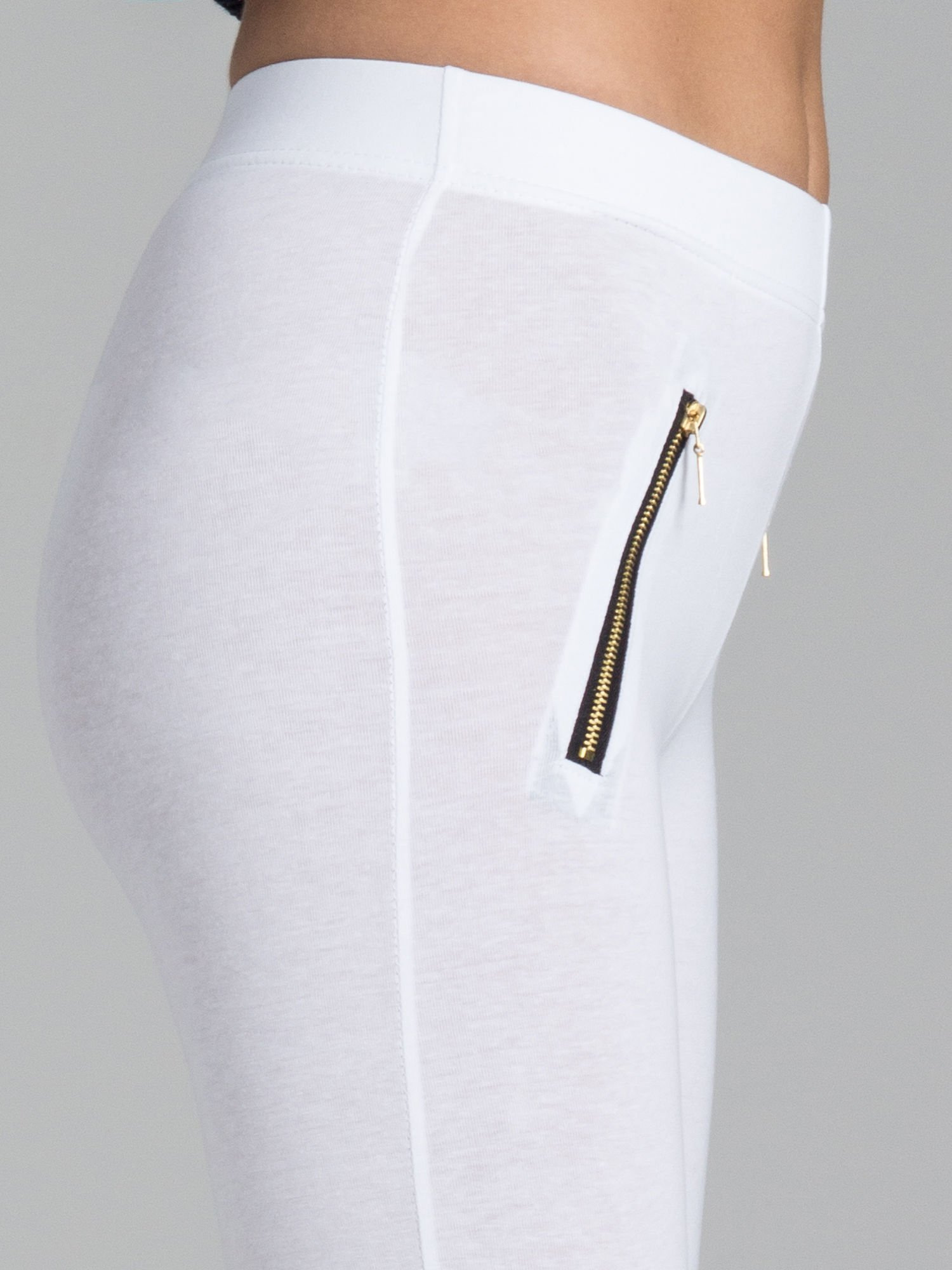 Białe legginsy ze złotymi zamkami                                  zdj.                                  6