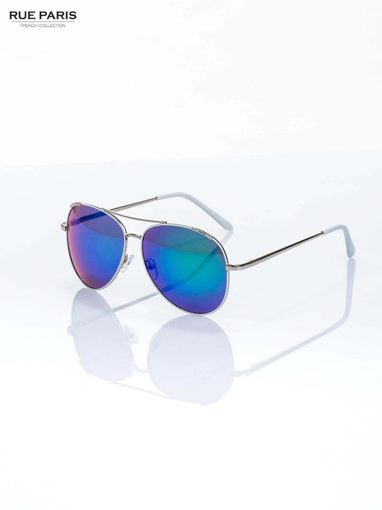 Białe okulary przeciwsłoneczne pilotki typu AVIATOR                                  zdj.                                  2