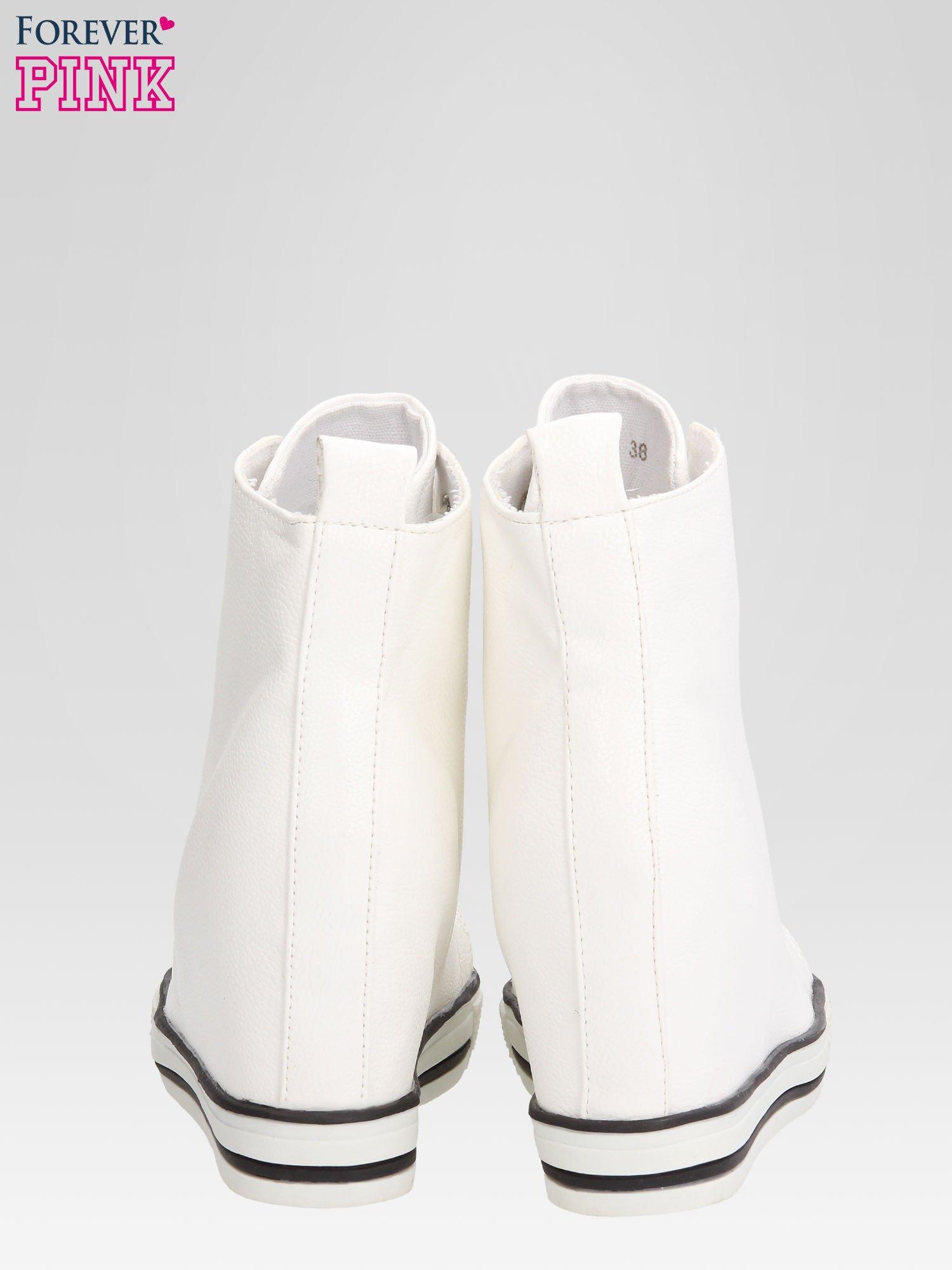 Białe skórzane sneakersy damskie                                  zdj.                                  3