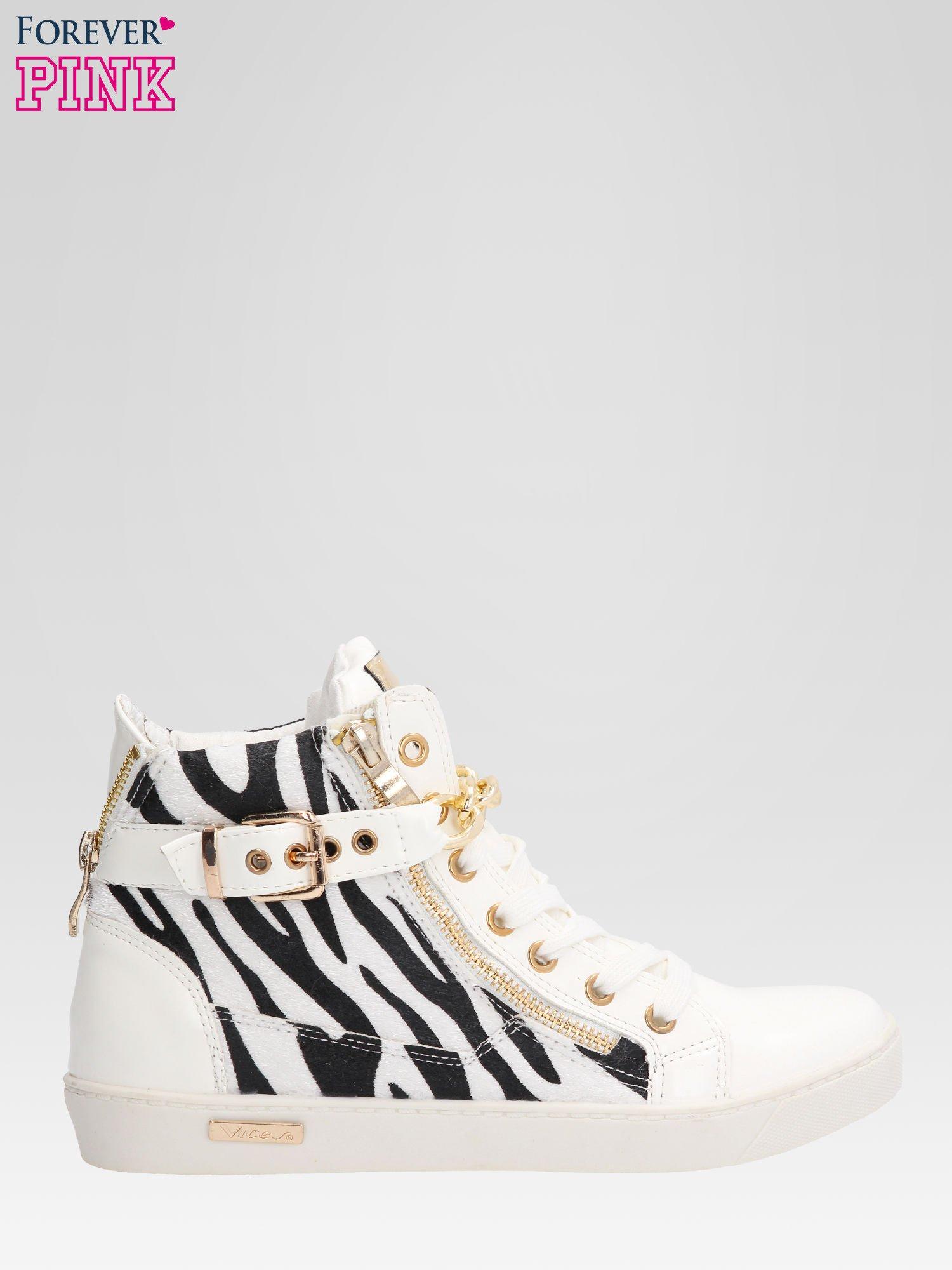 Białe sneakersy damskie z motywem zebry                                  zdj.                                  1