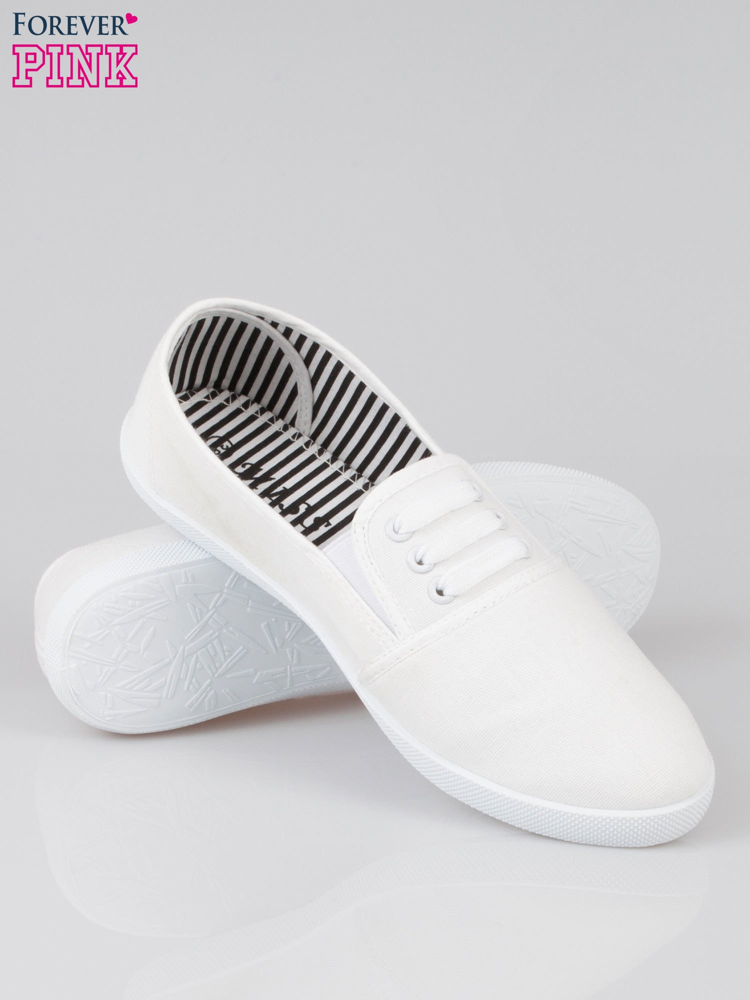 Białe tenisówki sliponki ze sznurówkami                                  zdj.                                  4