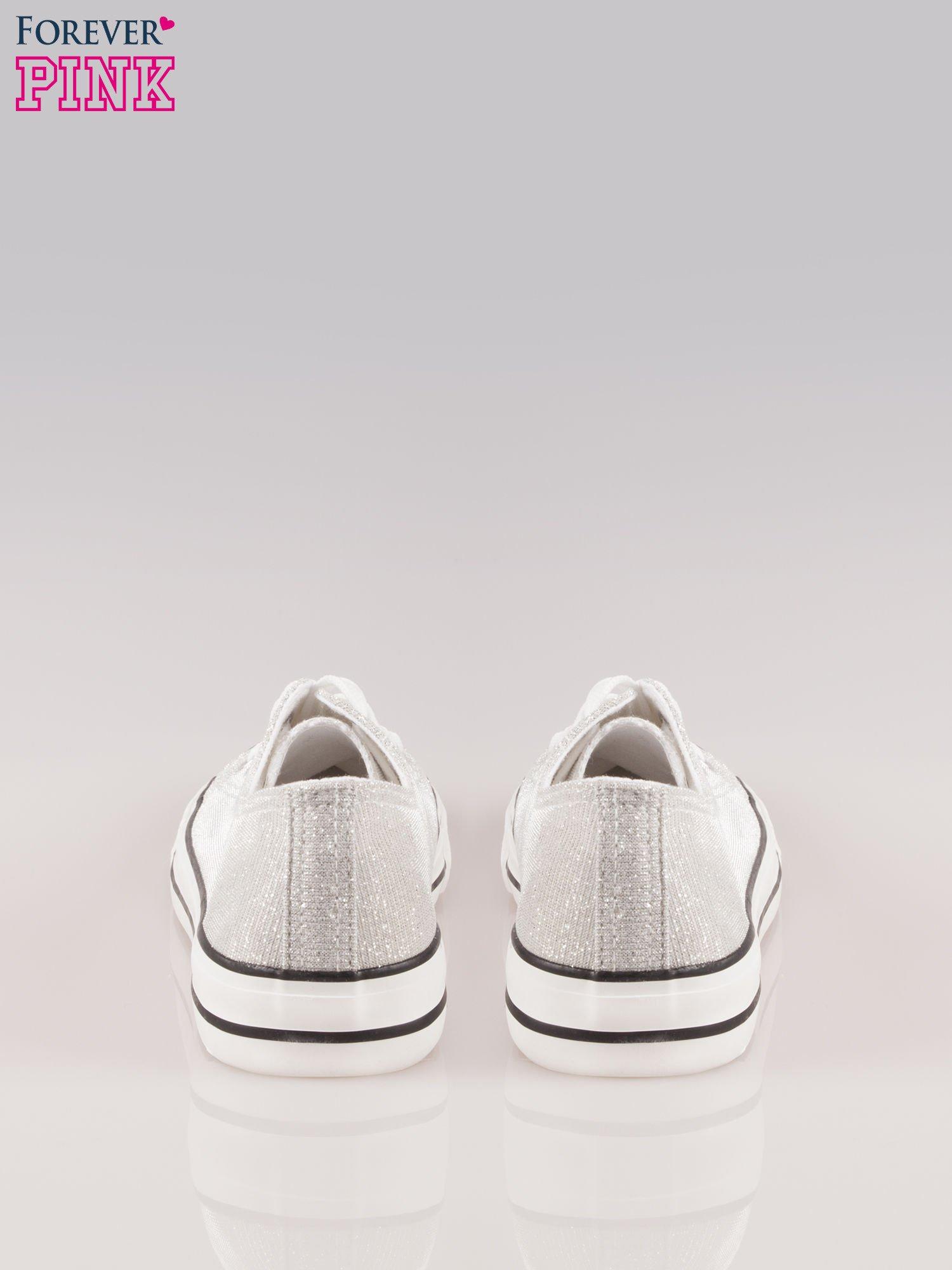 Białe trampki damskie do kostek z efektem glitter                                  zdj.                                  3