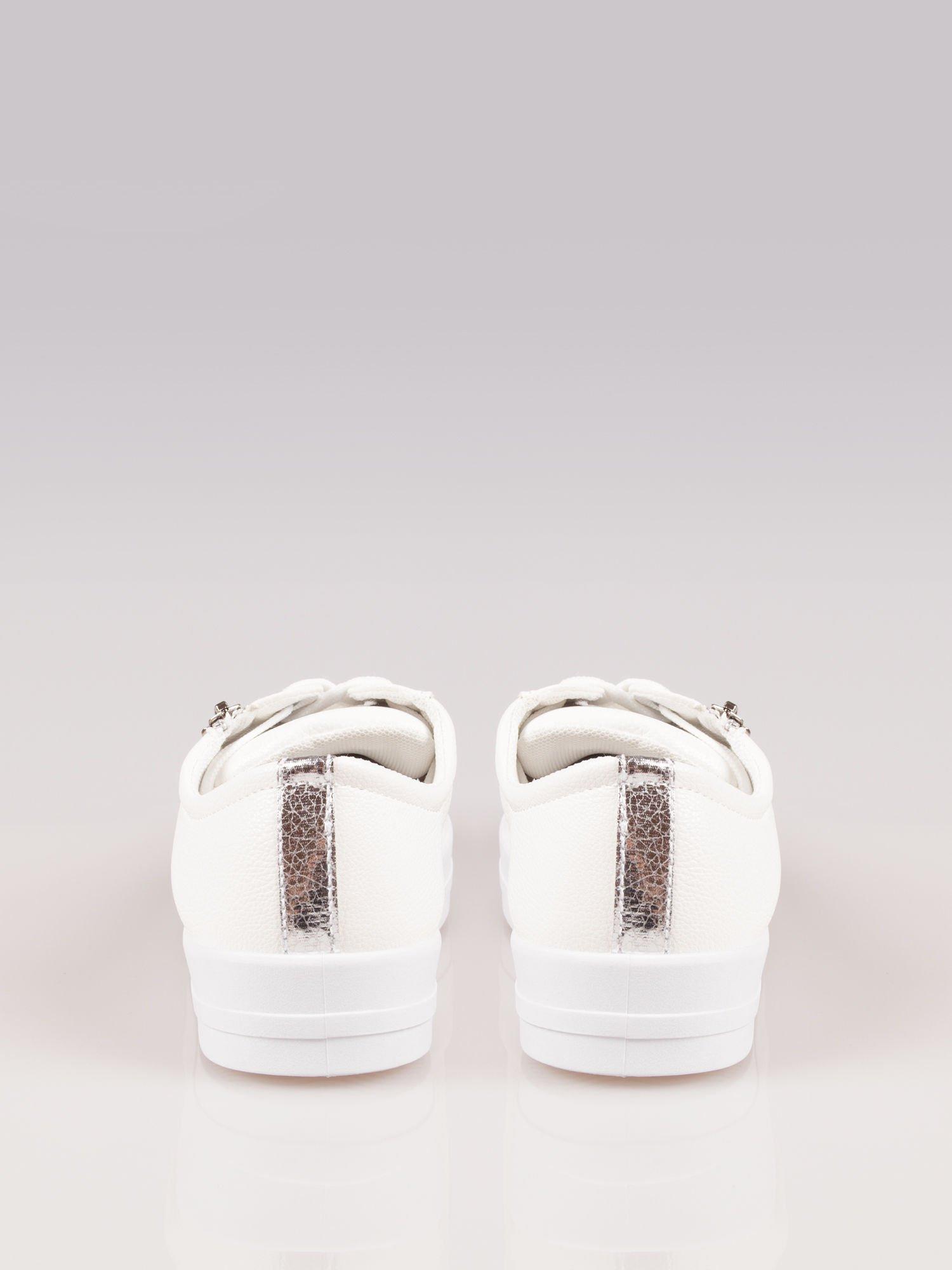 Białe trampki damskie sliver cap toe z suwakiem z boku Isadora                                  zdj.                                  3