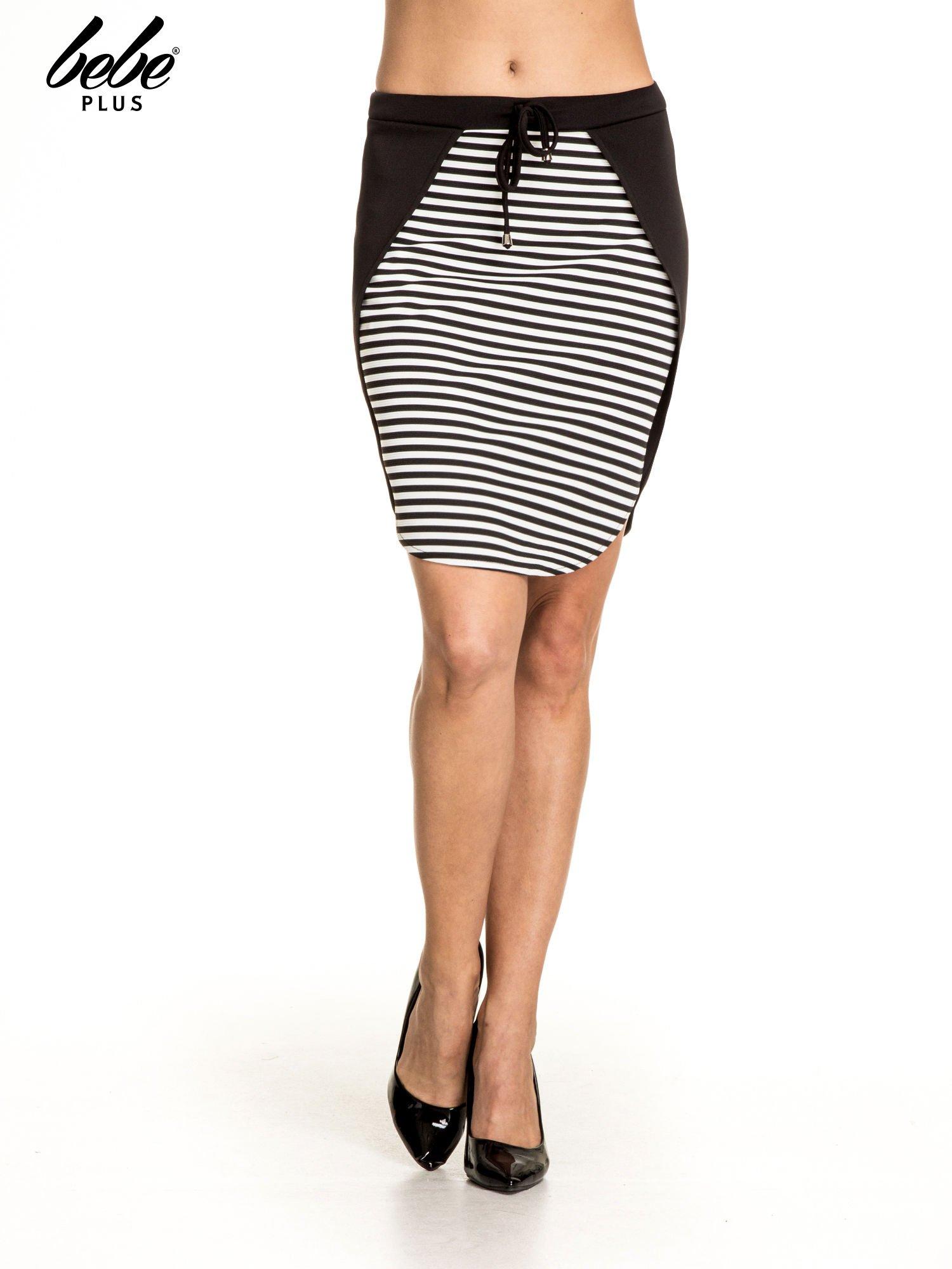 Biało-czarna dwuczęściowa spódnica w paski                                  zdj.                                  1