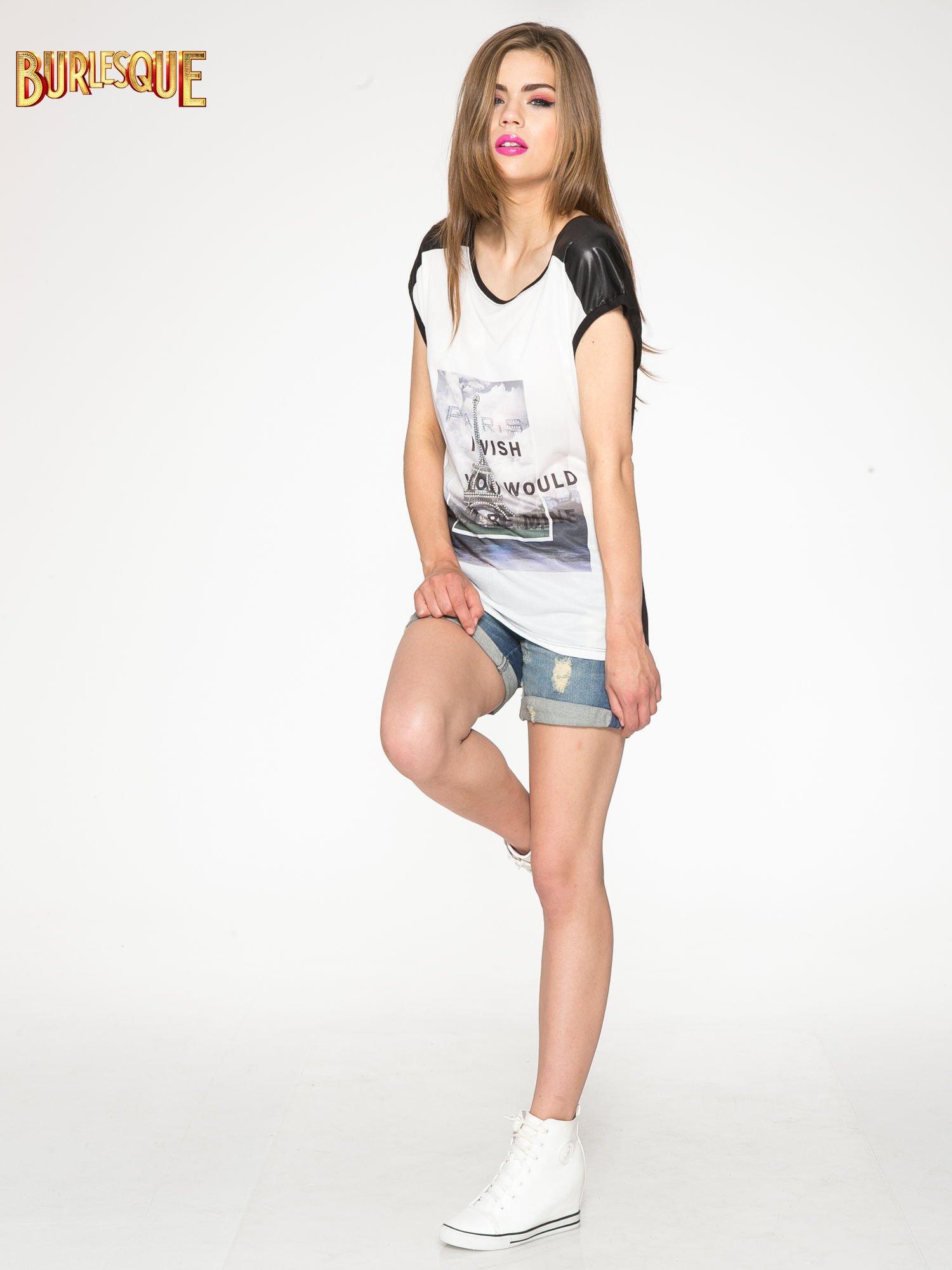 Biało-czarny t-shirt z nadrukiem wieży Eiffla                                   zdj.                                  2
