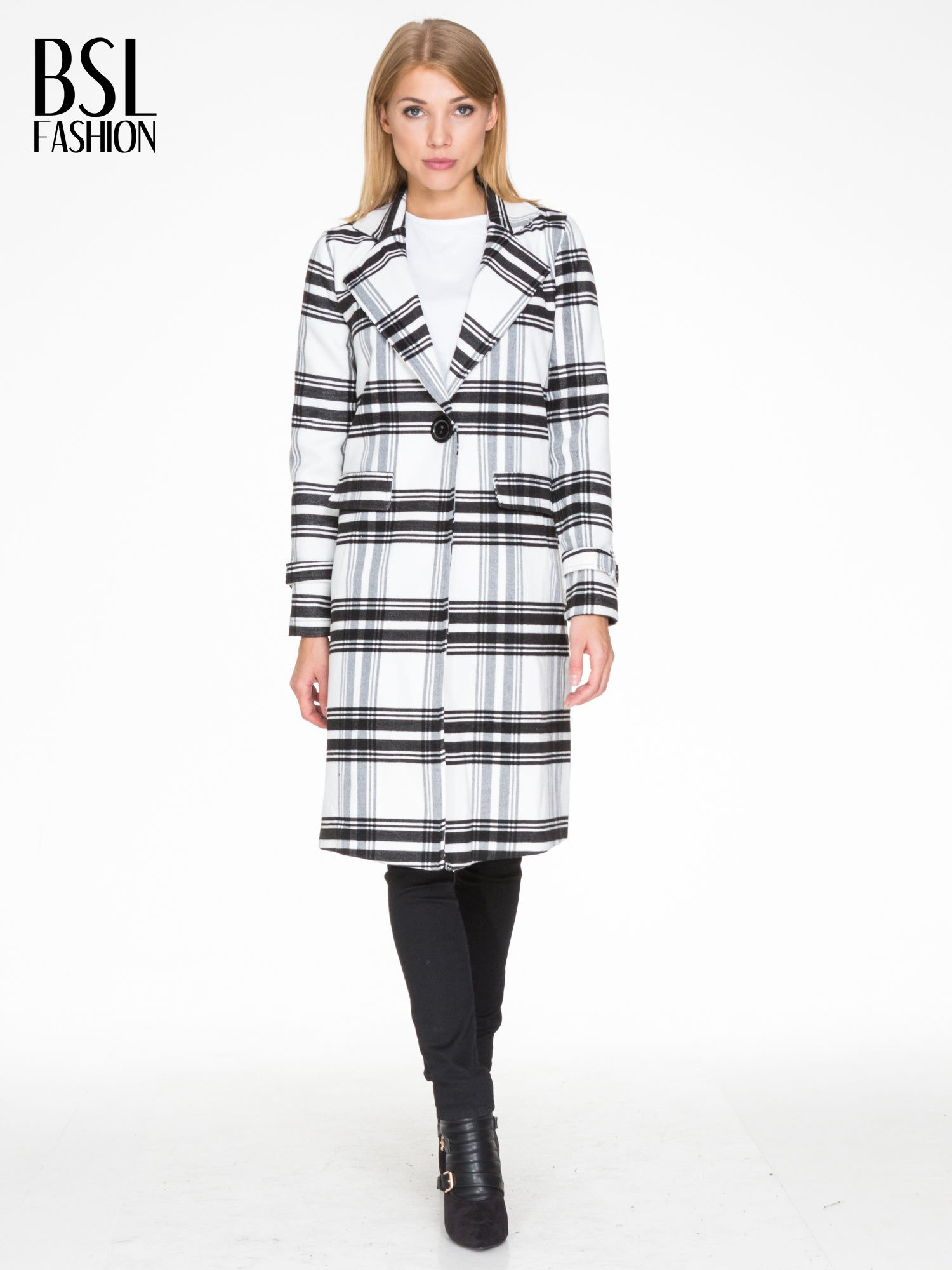 Biało-czarny wełniany płaszcz w kratę zapinany na jeden guzik                                  zdj.                                  4