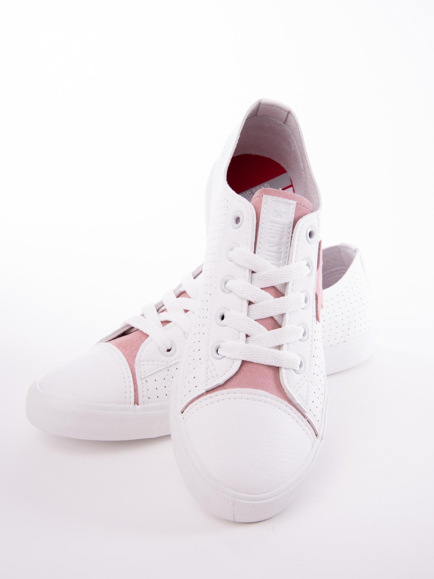 Biało różowe ażurowe tenisówki BIG STAR z gwiazdkami