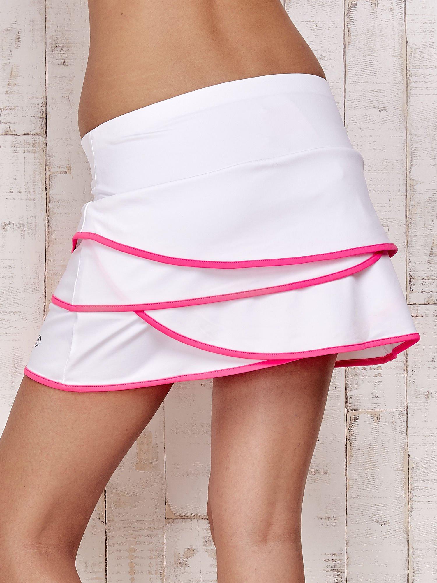 Biało-różowe spodenki spódniczka tenisowa z falbankami                                  zdj.                                  6