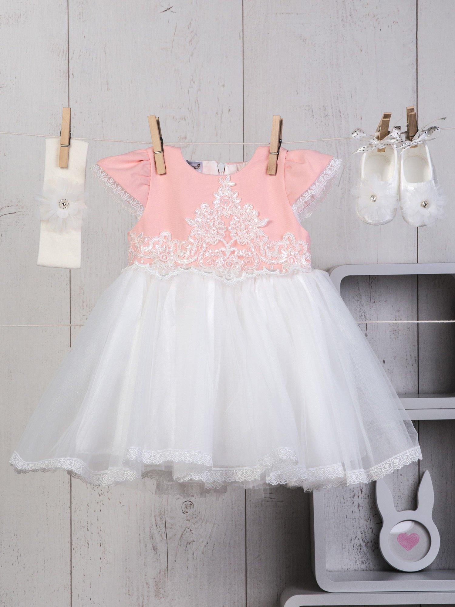 d7d18013c3 Biało-różowy niemowlęcy 3-elementowy zestaw wizytowy dla dziewczynki  sukienka tiulowa buciki i ozdobna ...