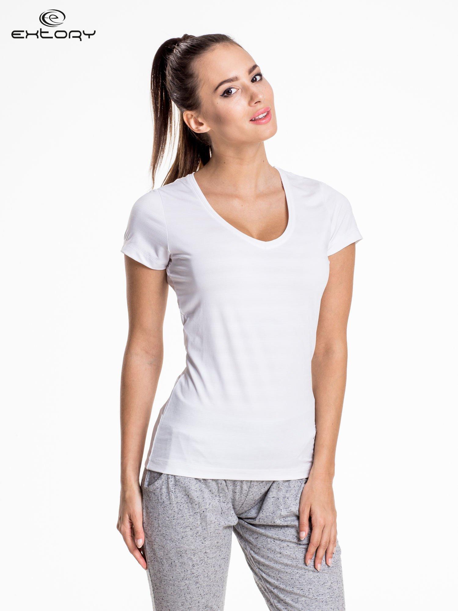 Biały damski t-shirt sportowy PLUS SIZE                                  zdj.                                  1